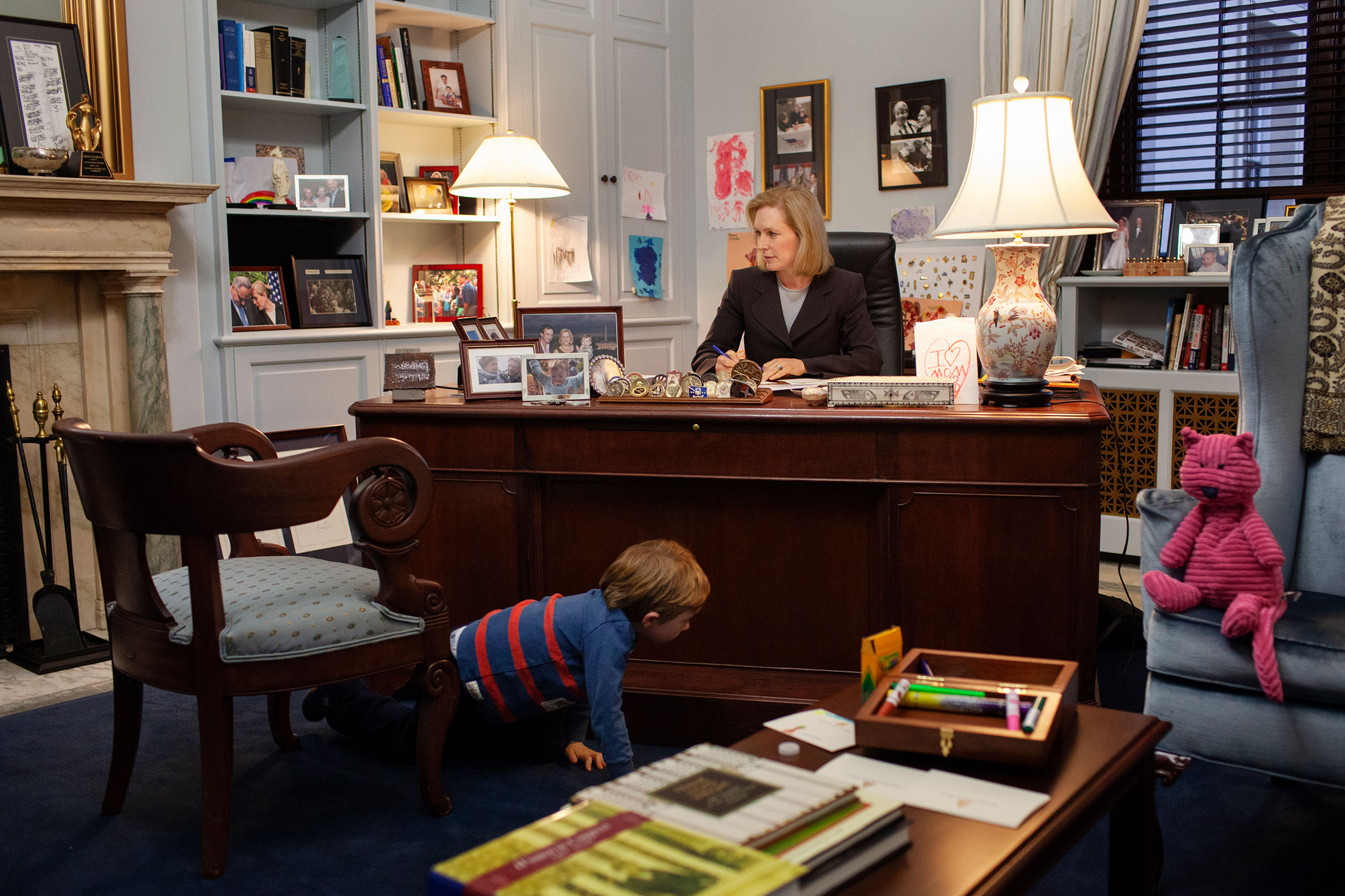 Gillibrand, pictured in her Senate office in 2013, the same year she introduced the FAMILY Act to the Senate