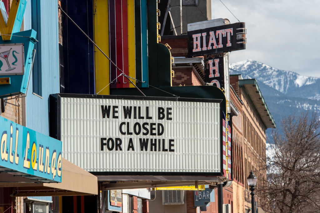 A usually busy Main Street in Livingston, Montana after  Governor Steve Bullock order the closing of restaurants, bars, and theaters on March 20 in response to the coronavirus pandemic.