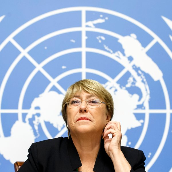 U.N. High Commissioner for Human Rights Michelle Bachelet at European headquarters in Geneva