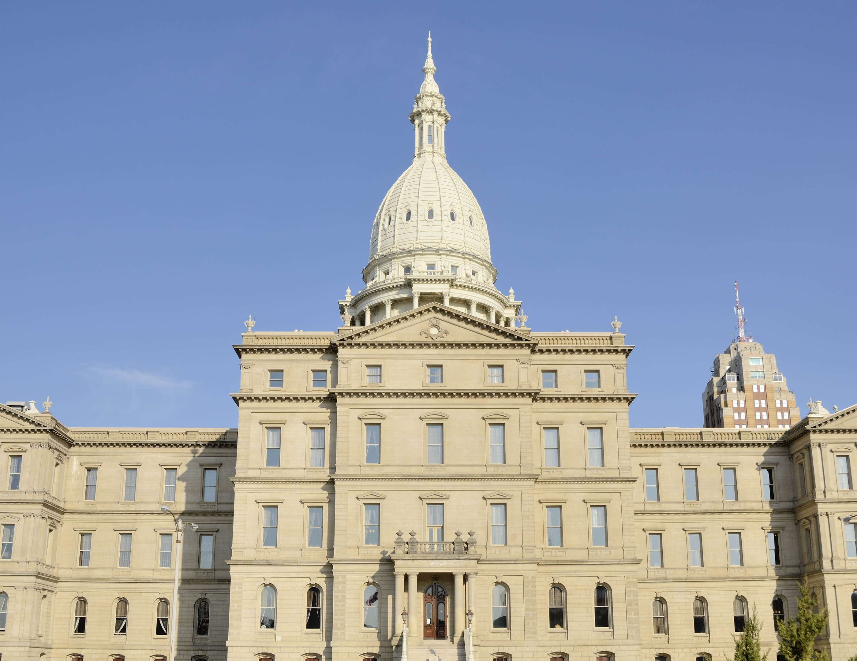 The beautiful dome of the Capitol Building in downtown Lansing, the capital of Michigan.