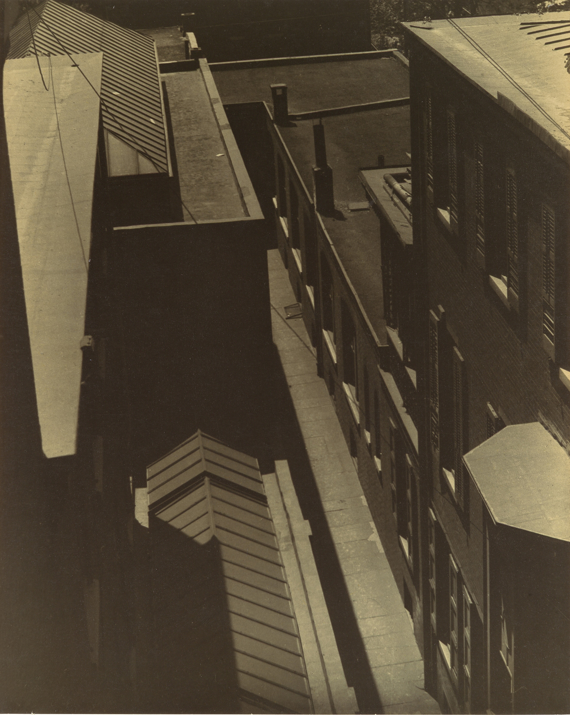 Morton Schamberg's  [View of Rooftops],  1917