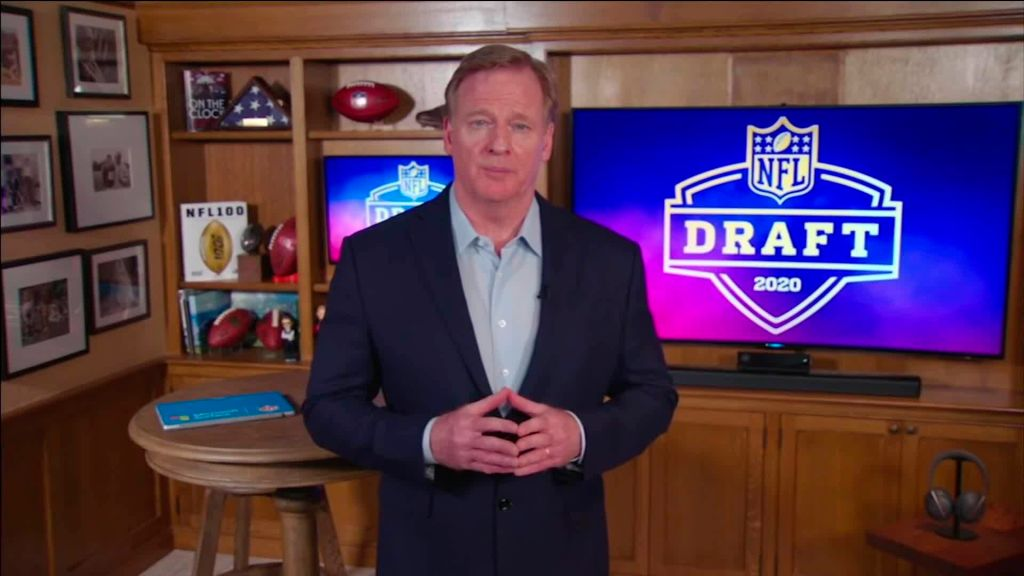 NFL Commissioner Roger Goodell speaks from his home in Bronxville, New York during the NFL draft on April 23, 2020.