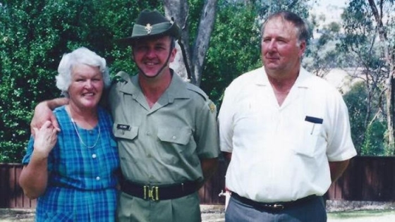 A family photo of Rosalee Clark's mother brother and father