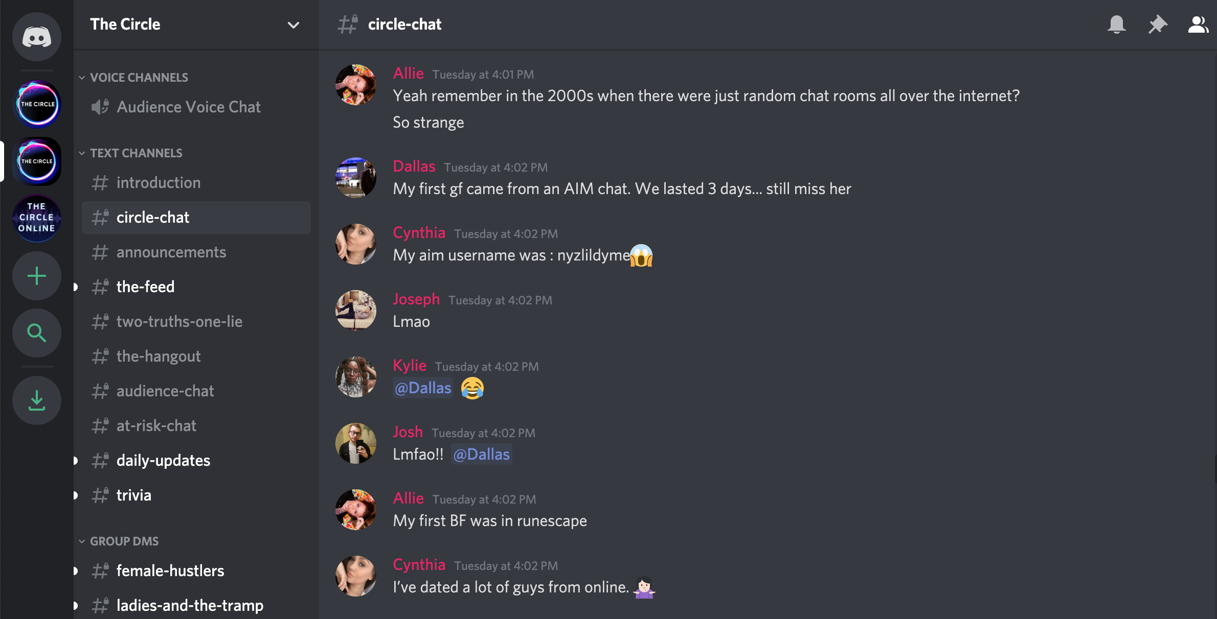 A screenshot of the #circle-chat on  The Circle  server