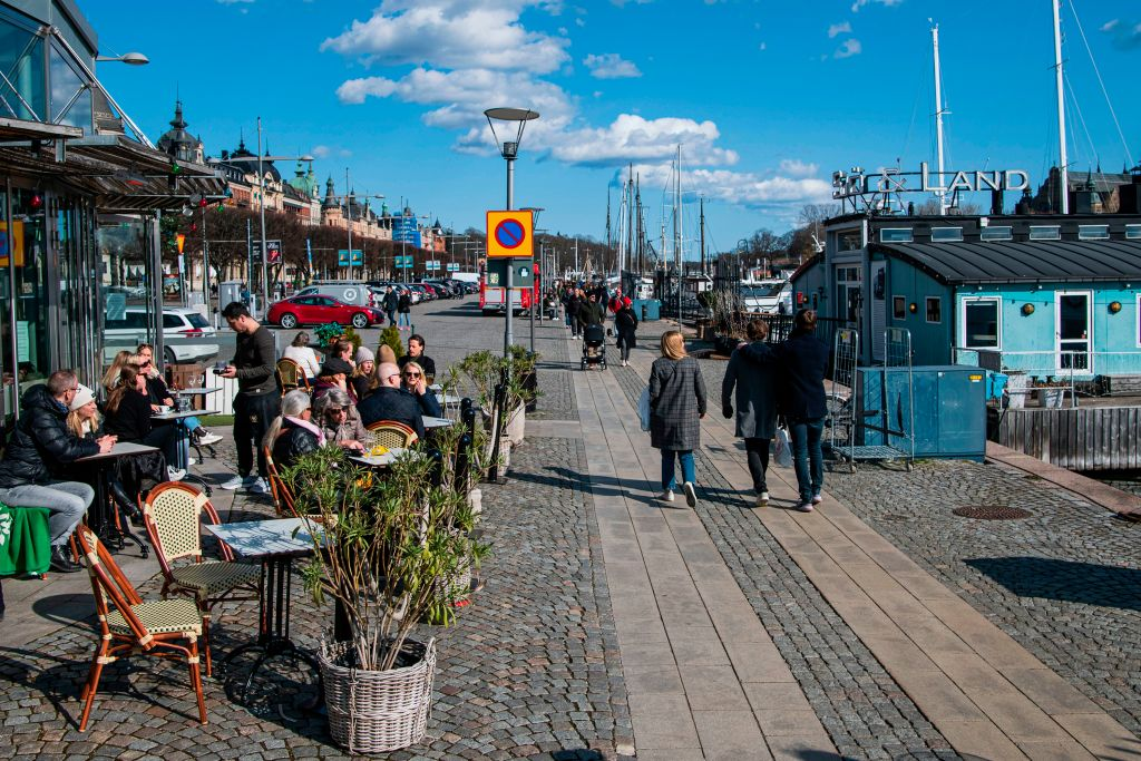 People gather in a restaurant on April 4, 2020 in Stockholm during the the new coronavirus COVID-19 pandemic.