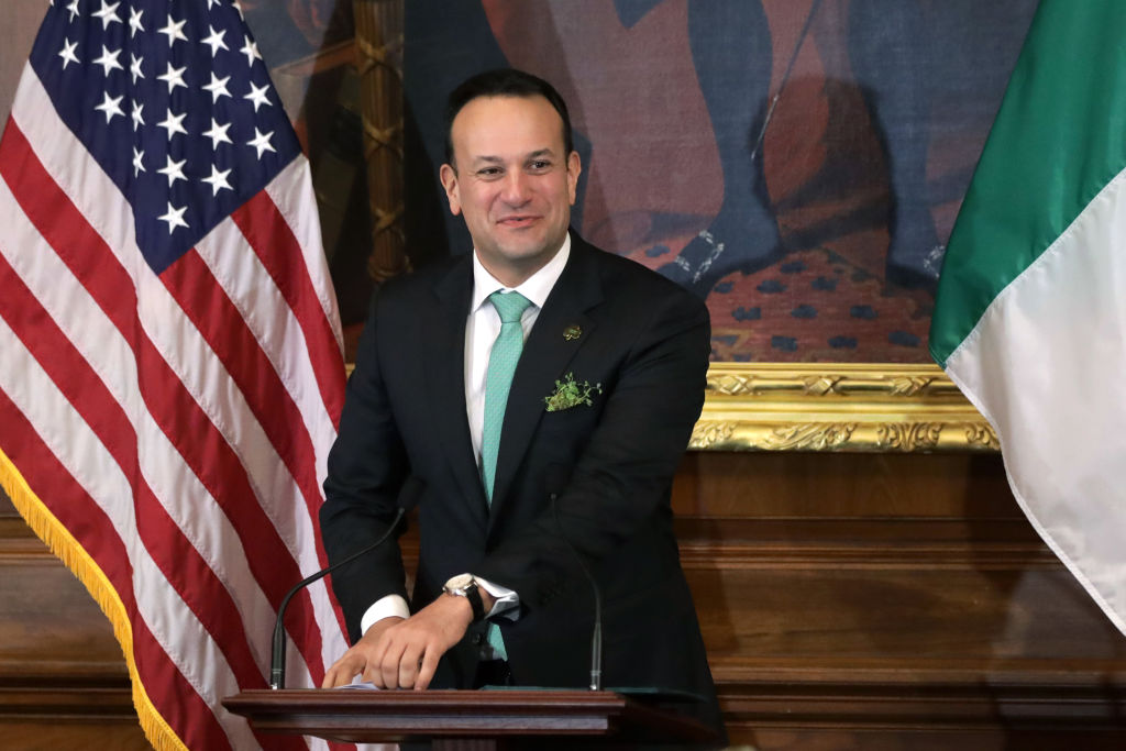 Irish Taoiseach Leo Varadkar speaks during the annual Friends of Ireland luncheon at the Rayburn Room of U.S. Capitol March 12, 2020 in Washington, DC.