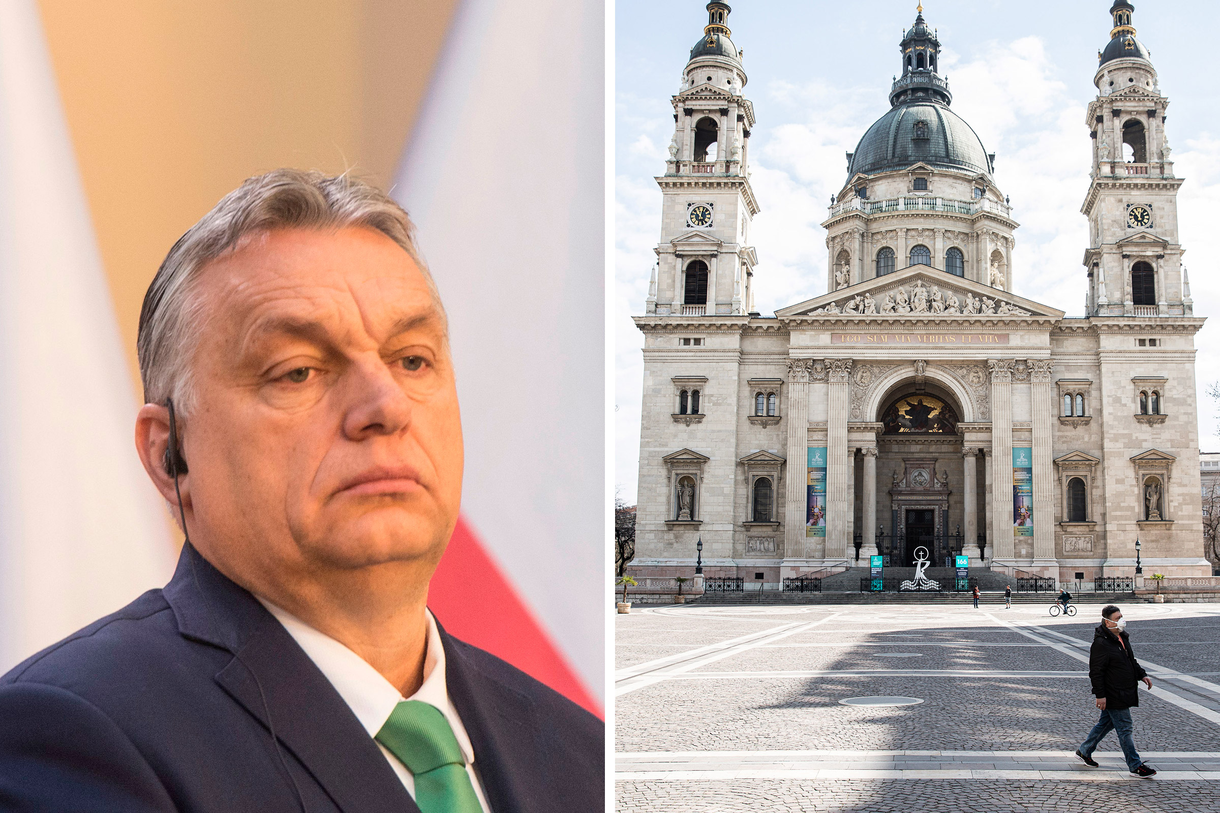 Hungary's Prime Minister Viktor Orban gives a joint press conference on March 4; A pedestrian wearing a protective face mask walks across a deserted square outside St. Stephen's Basilica in Budapest, Hungary on March 31