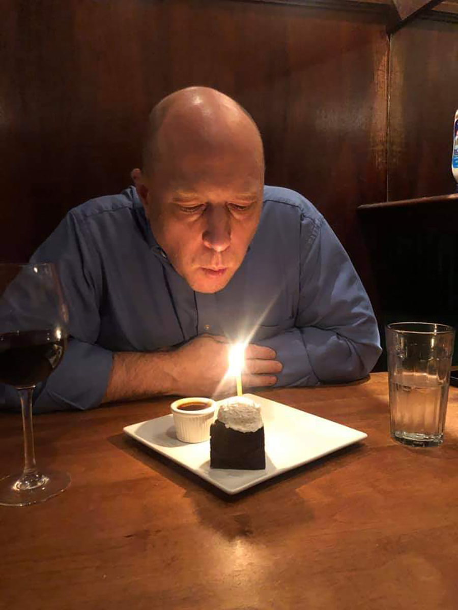 Zachary Wobensmith on his 50th birthday in New York.