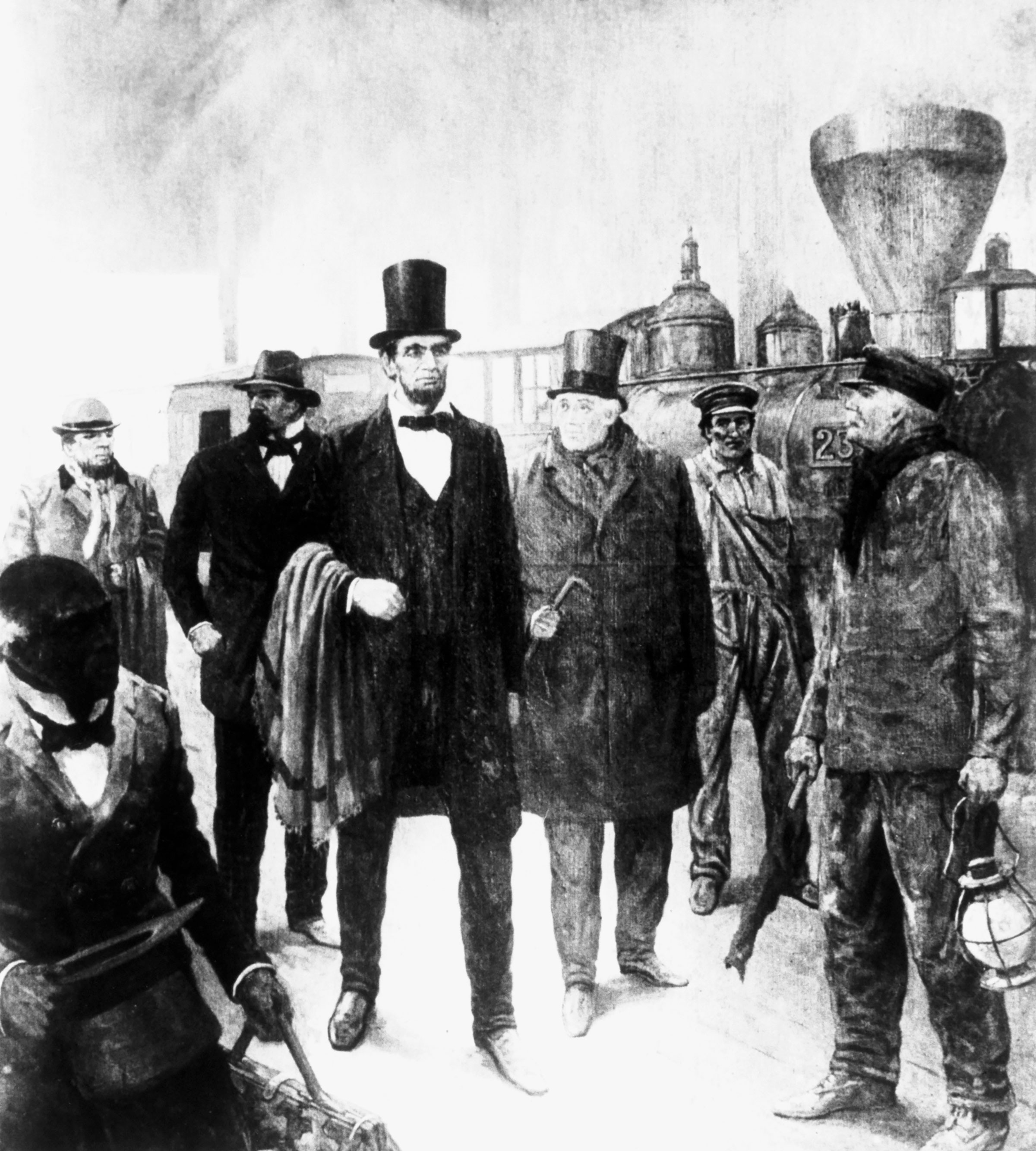 President Abraham Lincoln walks beside a locomotive at a railroad station.