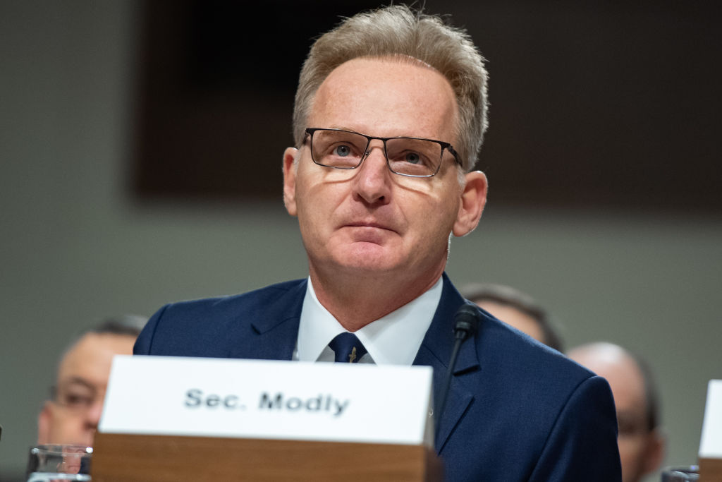 Acting Secretary of the Navy Thomas Modly testifies in response to Government Accountability Office findings about substandard military housing during a Senate Armed Services Committee hearing on Capitol Hill in Washington, DC, December 3, 2019.