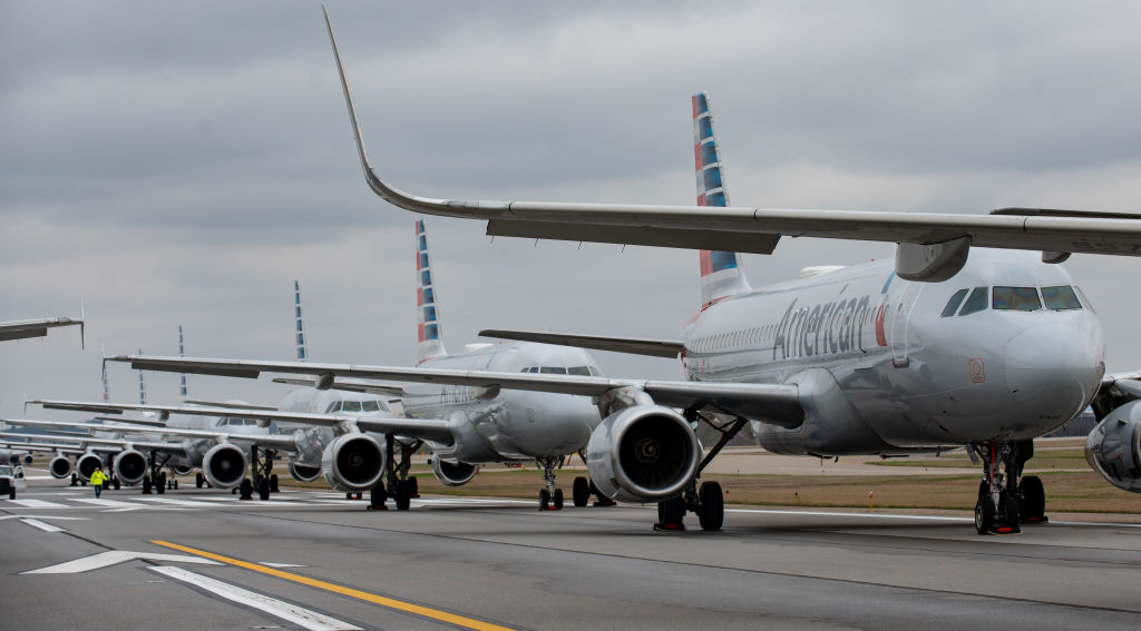 Jets are parked on runway 28 at the Pittsburgh International Airport in Pittsburgh, Pennsylvania on March 27, 2020.