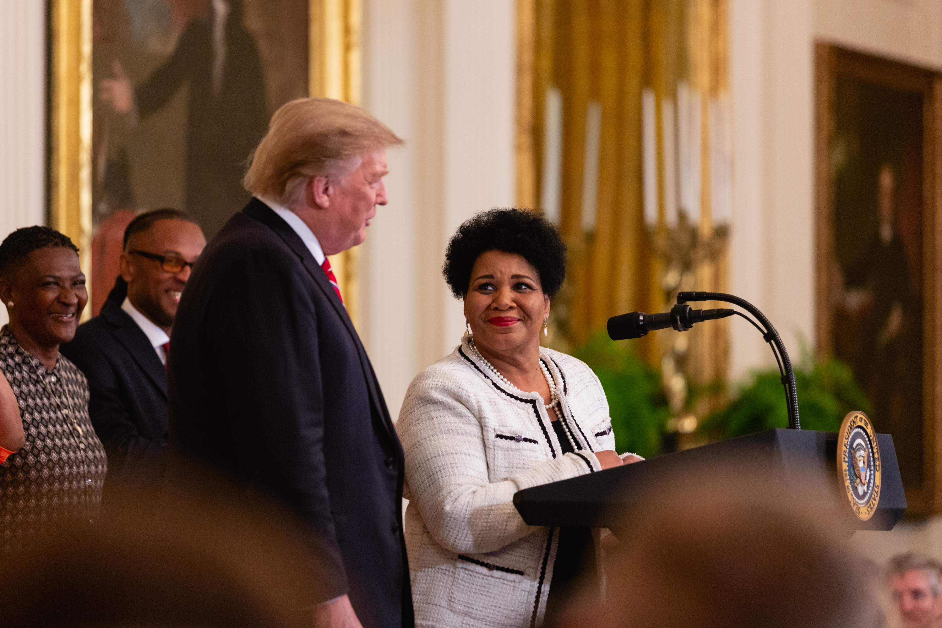Alice Marie Johnson speaks at the 2019 White House Prison Reform Summit and First Step Act celebration at the White House in Washington, D.C. on Monday, April 1, 2019.