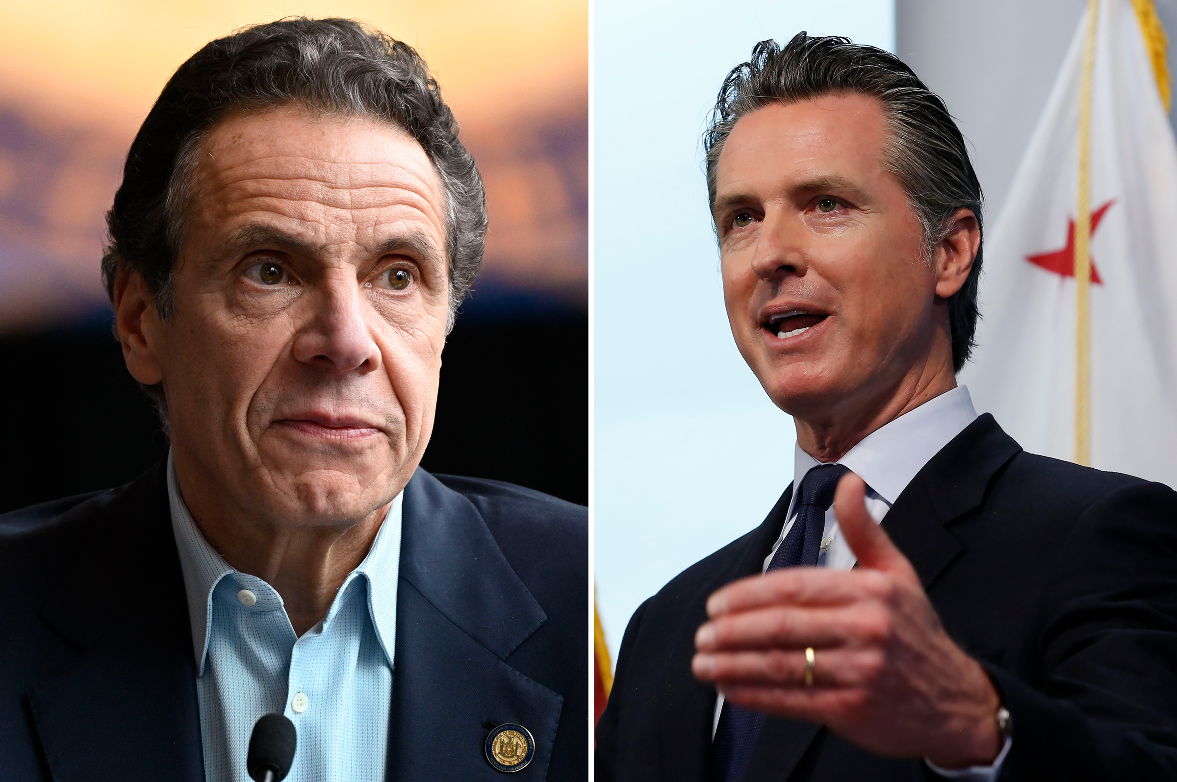 Andrew Cuomo holds a briefing on the COVID-19 response at the Jacob K. Javits Convention Center on March 30; Gavin Newsom updates the state's response to the coronavirus at the Governor's Office of Emergency Services in Rancho Cordova, CA, March 30