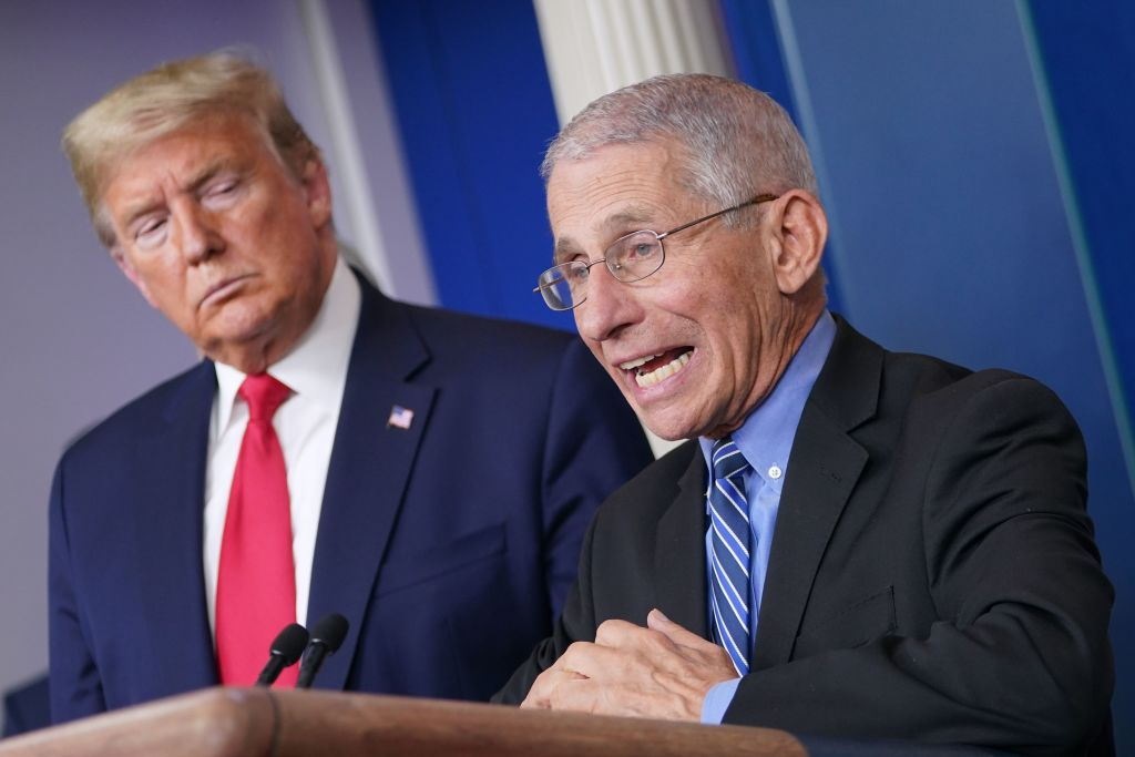 US President Donald Trump (L) listens as Director of the National Institute of Allergy and Infectious Diseases Anthony Fauci speaks during the daily briefing on the novel coronavirus, COVID-19, at the White House in Washington, DC on March 24, 2020.