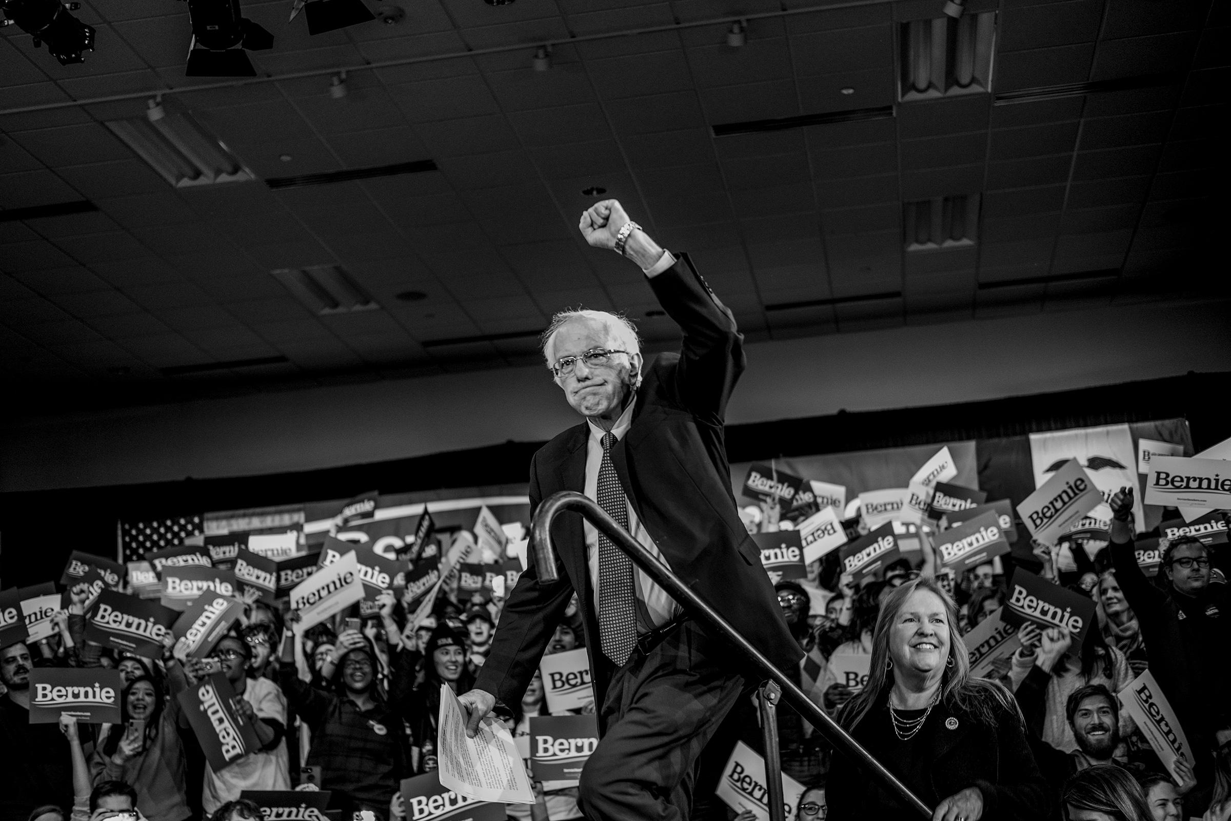 Sen. Bernie Sanders on night of the Iowa Caucus in Des Moines, Iowa on Feb. 3, 2020.