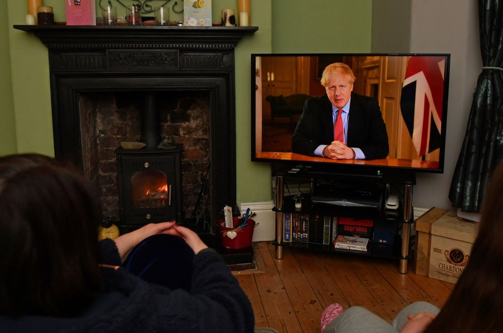 Prime Minister Boris Johnson makes a televised address to the nation from inside 10 Downing Street on March 23, 2020.