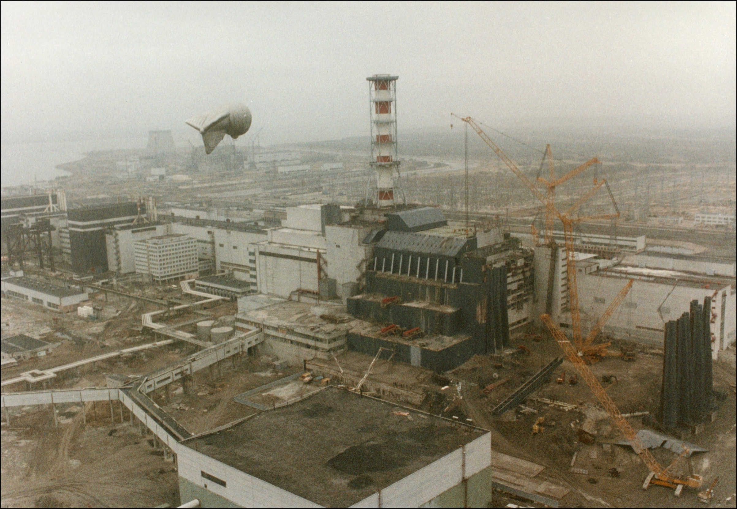 View of the Chernobyl Nuclear power after the explosion on April 26, 1986 in Chernobyl, Ukraine.