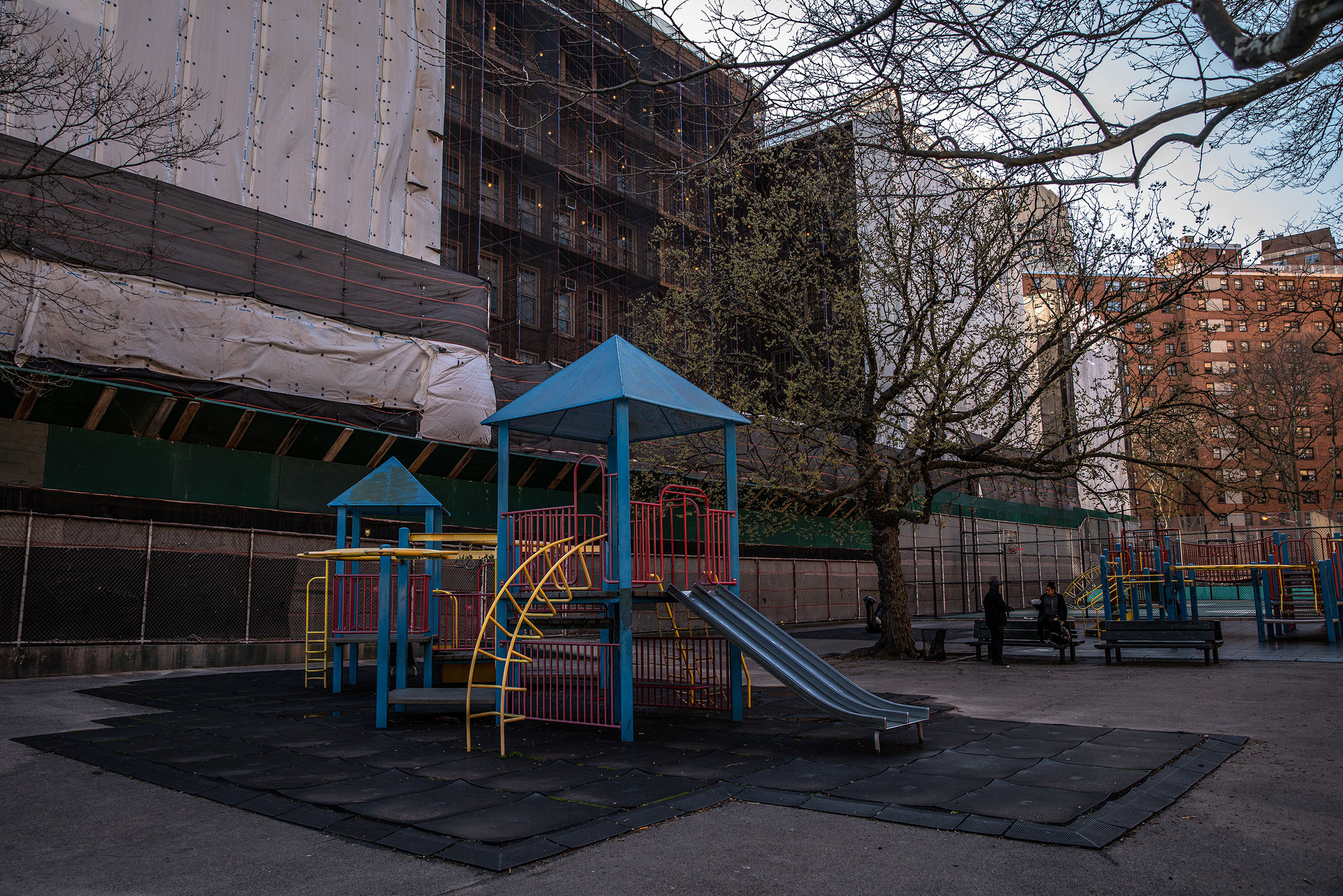 The Harlem Renaissance Training Center's playground remains empty in New York on March 24, 2019.