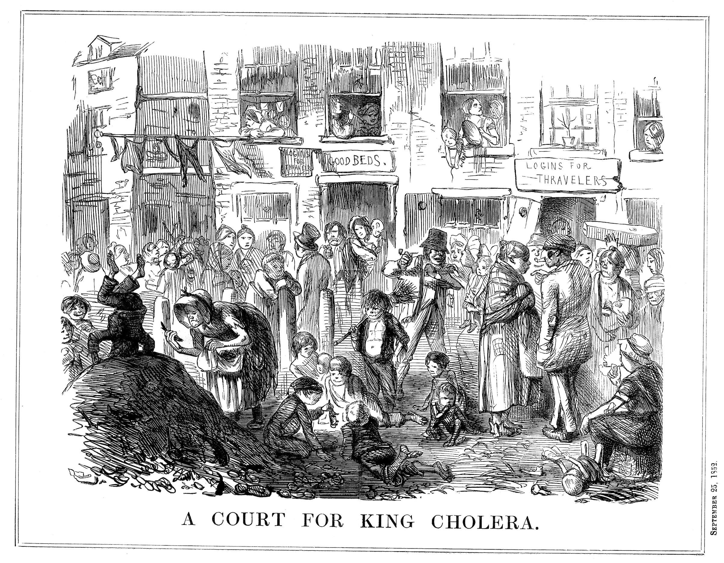 'A Court for King Cholera', 1852. A scene typical of the London slum. Cartoon from Punch. (London, Sept. 25,  1852).