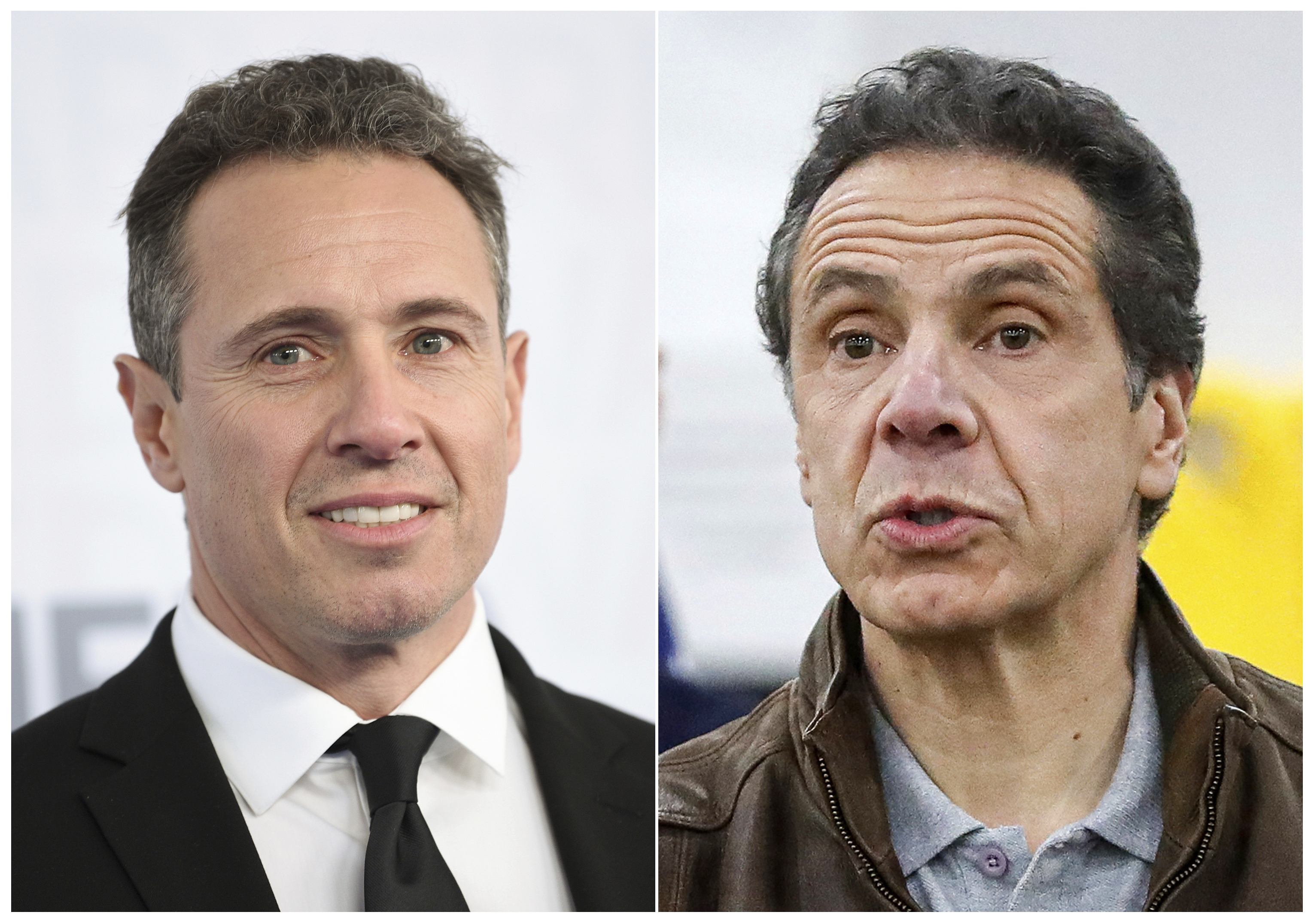 This combination photo shows CNN news anchor Chris Cuomo at the WarnerMedia Upfront in New York on May 15, 2019, left, and New York Gov. Andrew Cuomo speaking during a news conference in New York on March 23, 2020.