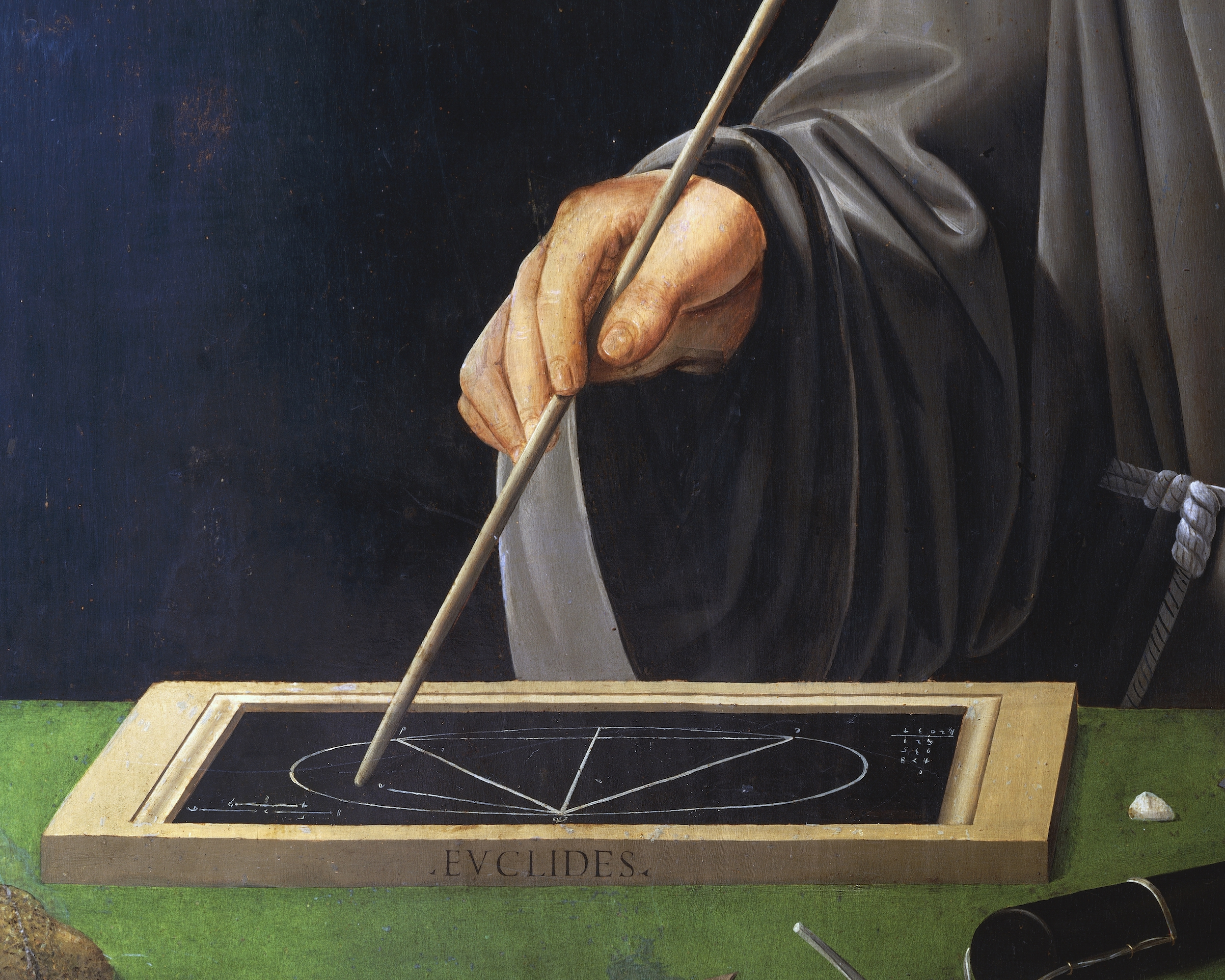 Hand holding a rod, and a description of a theorem of Euclid, detail of the portrait of Fra Luca Pacioli (1445-1517) with a student, 1496, painting attributed to Jacopo de' Barbari
