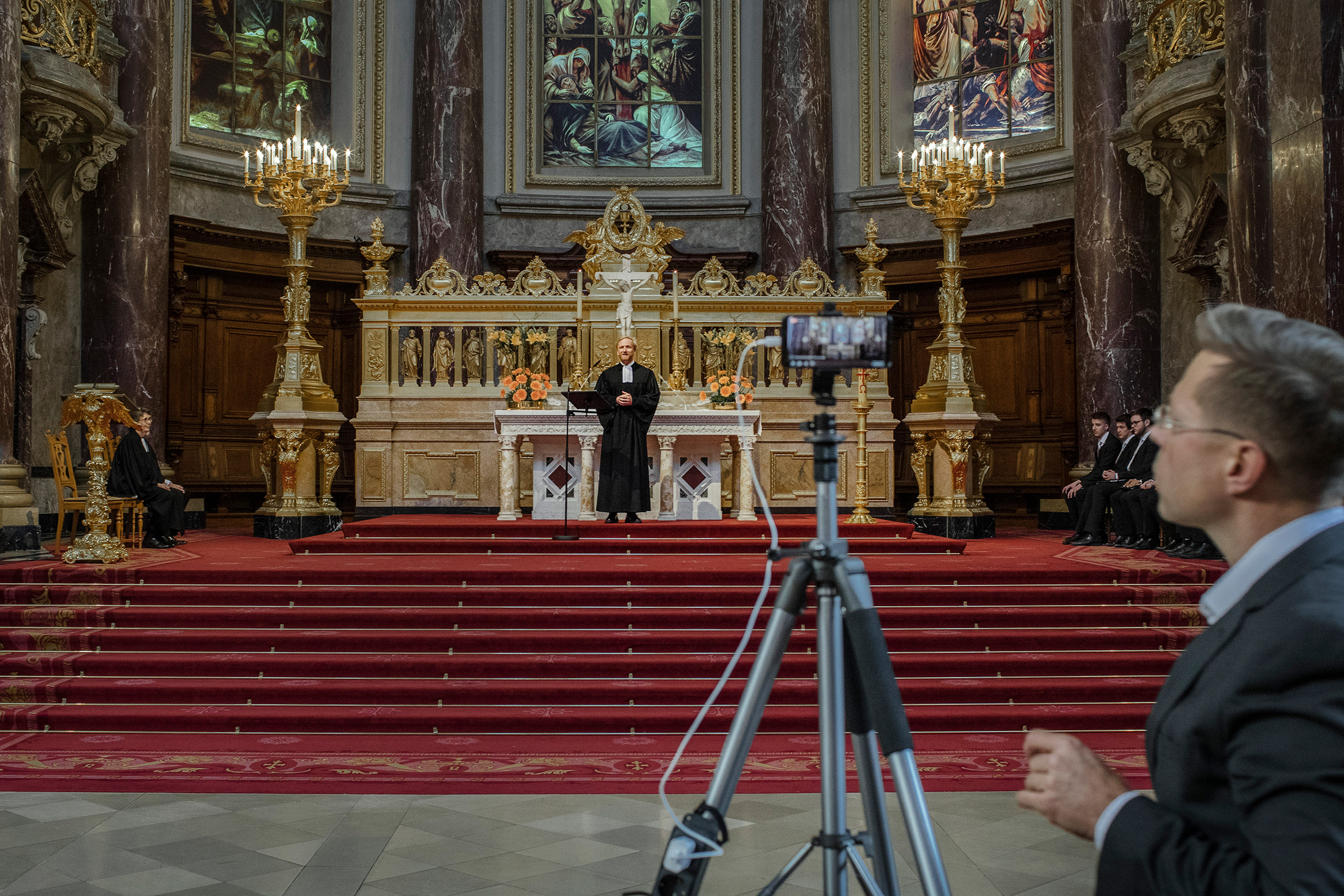 Service is live streamed from the Berlin Cathedral on March 15 as gatherings of more than 50 people were banned