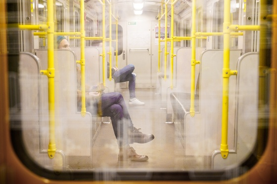 Few riders are seen on the U-Bahn in Berlin in March 2020