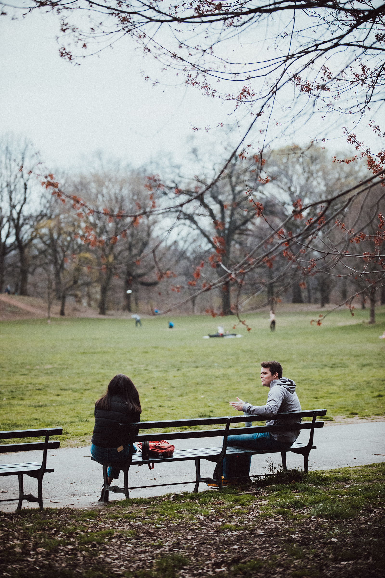 A couple having a conversation in Prospect Park, Brooklyn on April 5th, 2020.