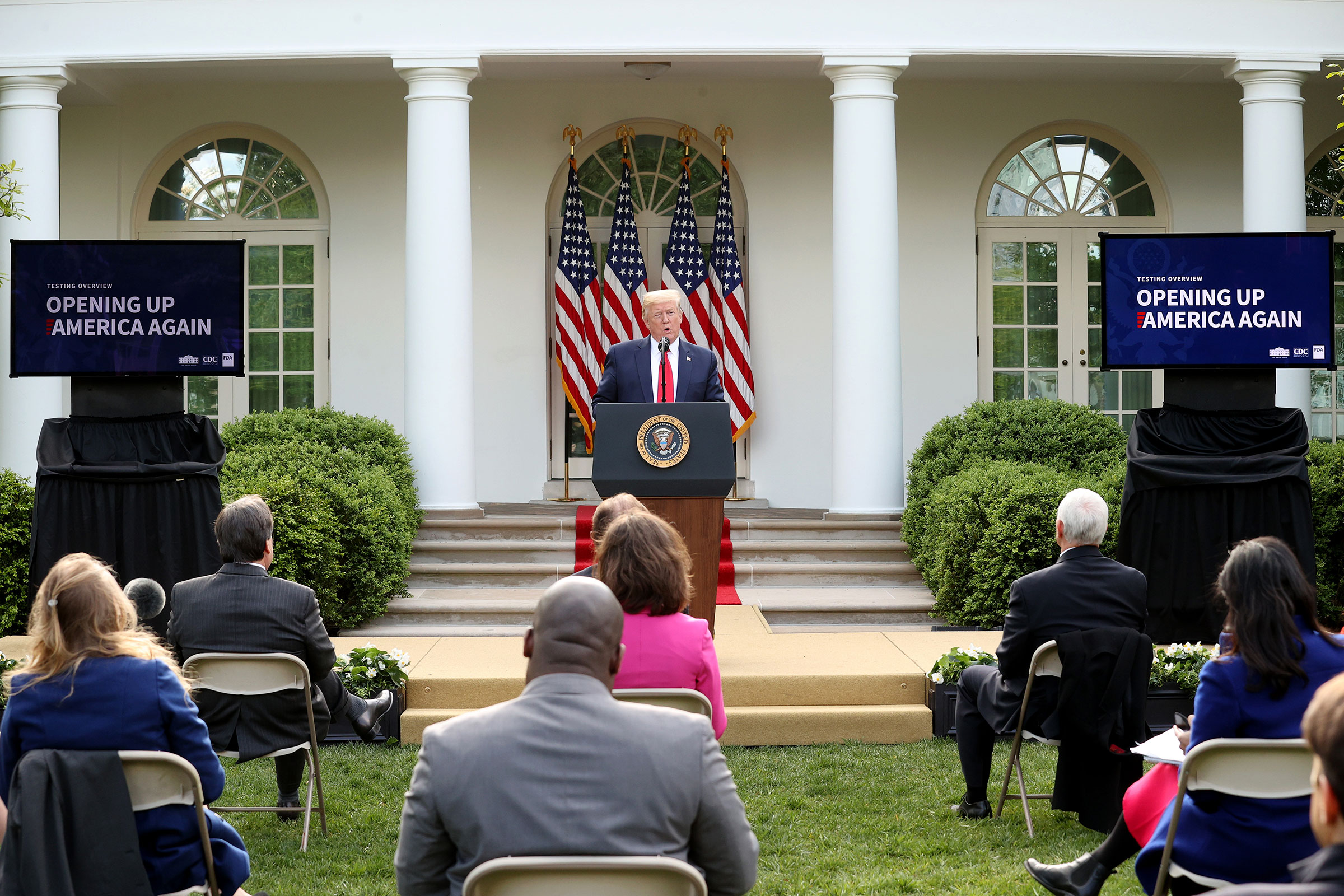 President Donald Trump speaks during the daily briefing of the coronavirus task force in the Rose Garden at the White House in Washington, on April 27, 2020.