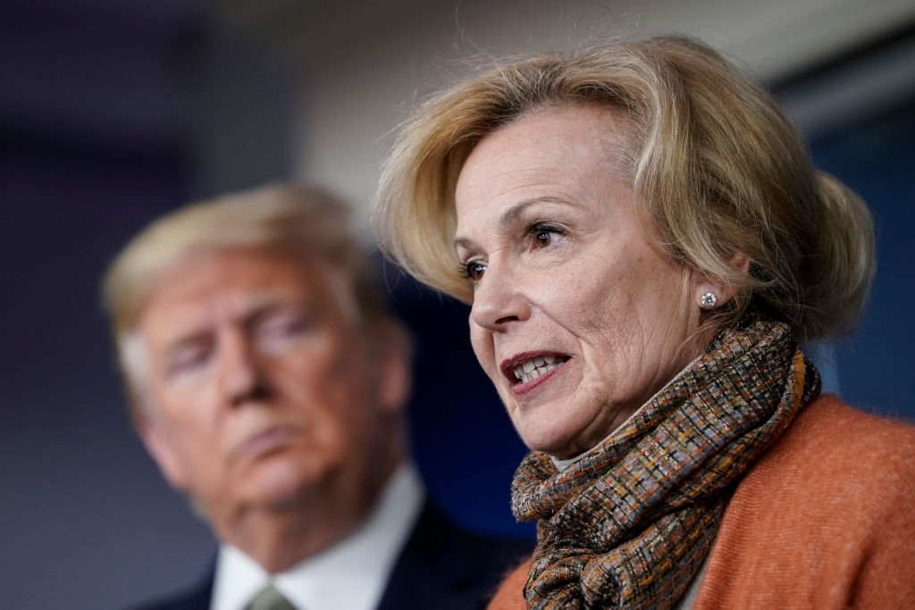 U.S. President Donald Trump looks on as White House Coronavirus Response Coordinator Dr. Deborah Birx speaks about the coronavirus outbreak in the press briefing room at the White House on March 17, 2020 in Washington, DC.
