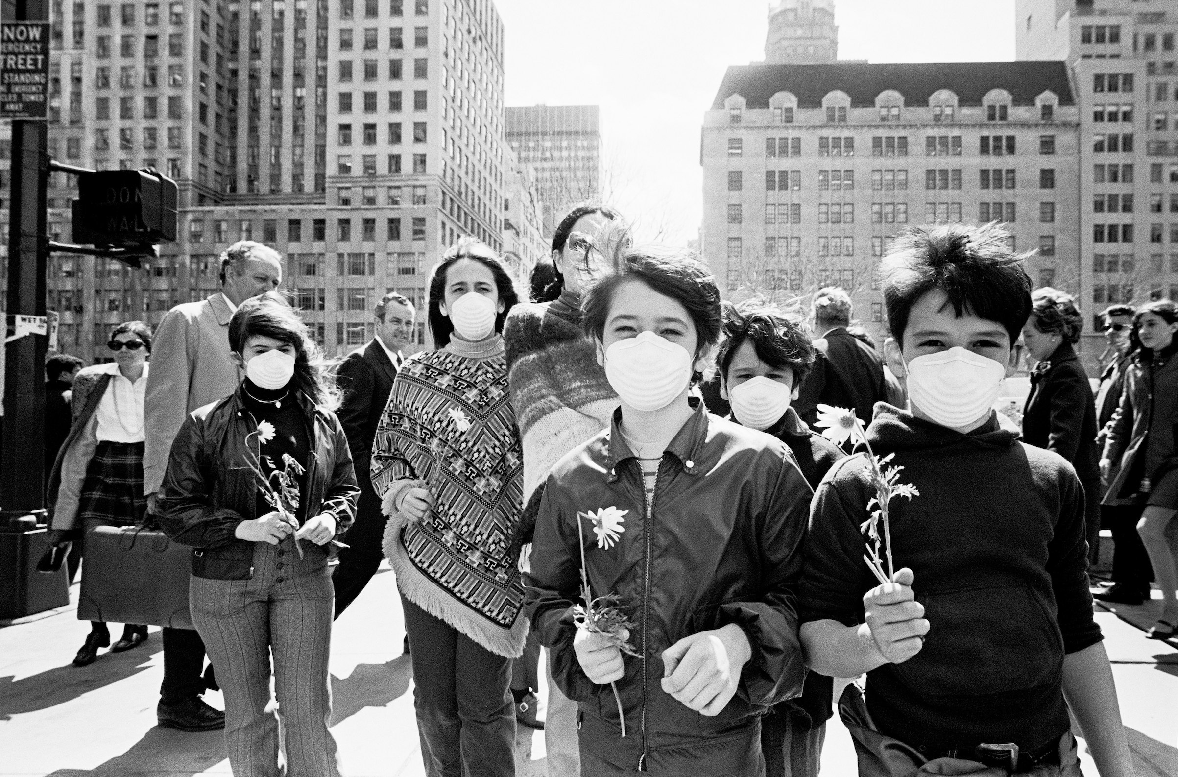 Demonstrators in New York, N.Y., in 1970. Air pollution was a major issue among many who marked the first Earth Day on April 22, 1970.