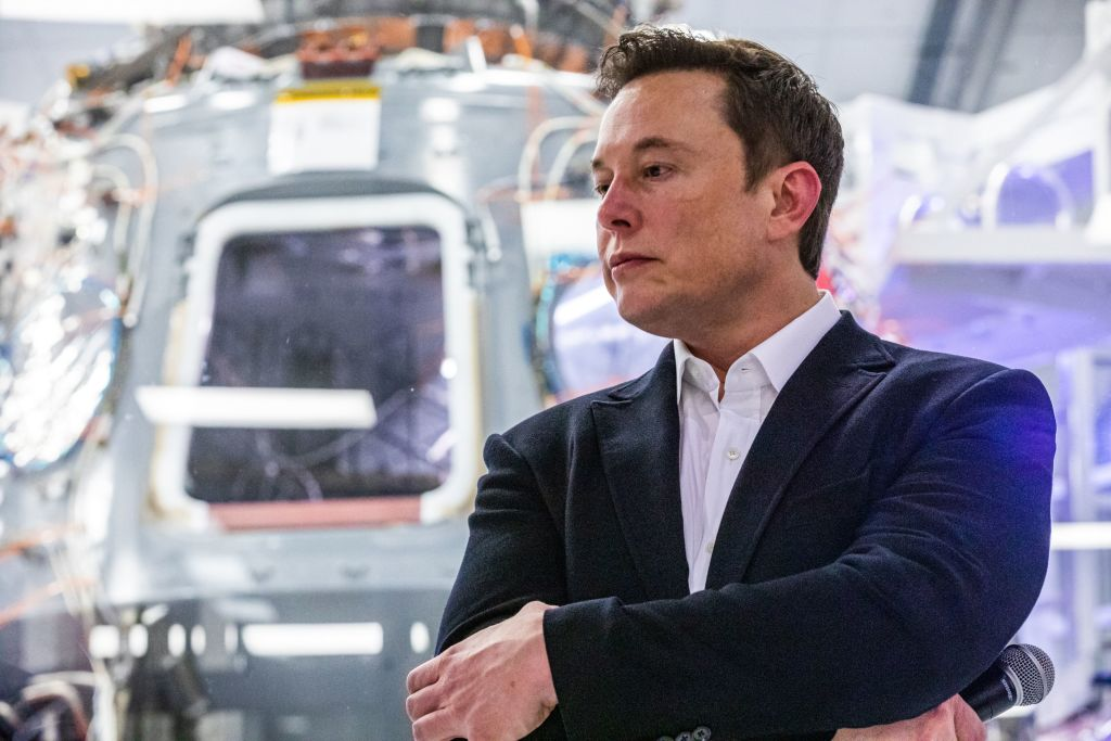 Elon Musk, founder of SpaceX and chief executive officer of Tesla Inc. attends a press conference at the SpaceX headquarters in Hawthorne, California on Oct. 10, 2019.
