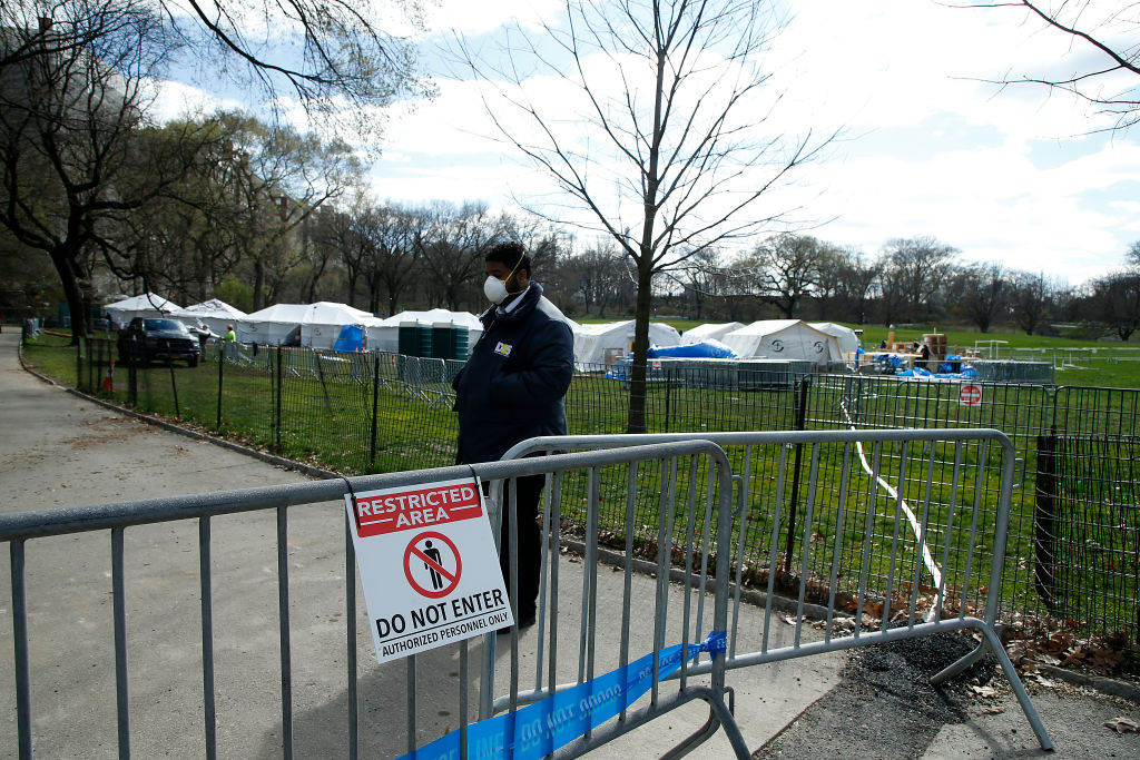 A temporary field hospital built in New York City's Central Park  (shown on April 2, 2020) to help alleviate the stress on the city's health care system created by the coronavirus pandemic.