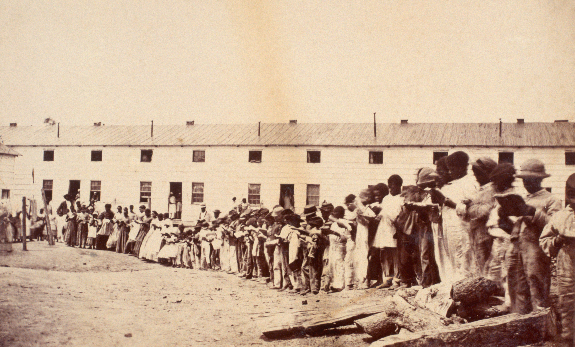 As slaves were freed after the Emancipation Proclamation, the United States government established  Freedmen's Villages  to house, clothe, and educate freed slaves. Ca. 1863-1865.