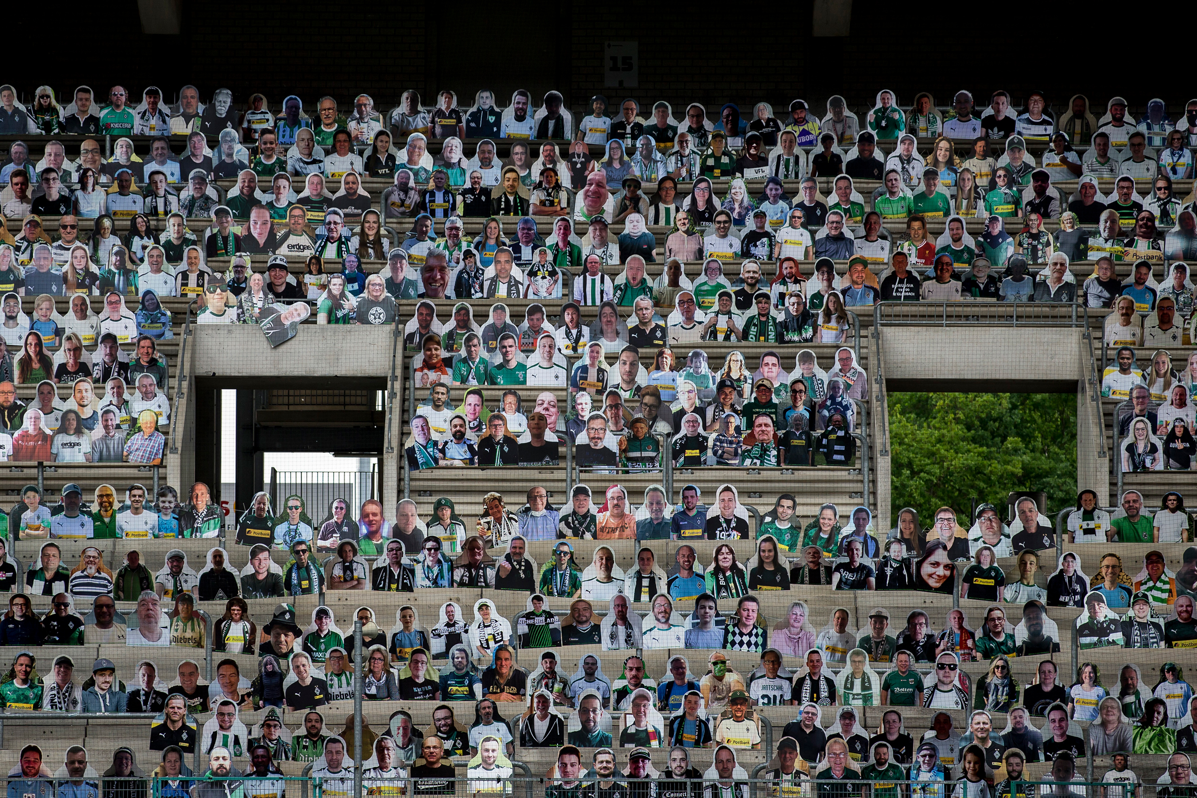 Pictures of fans, players, coaches and staff of Bundesliga club Borussia Mönchengladbach are seen at Borussia-Park in Mönchengladbach, Germany, on April 28, 2020.