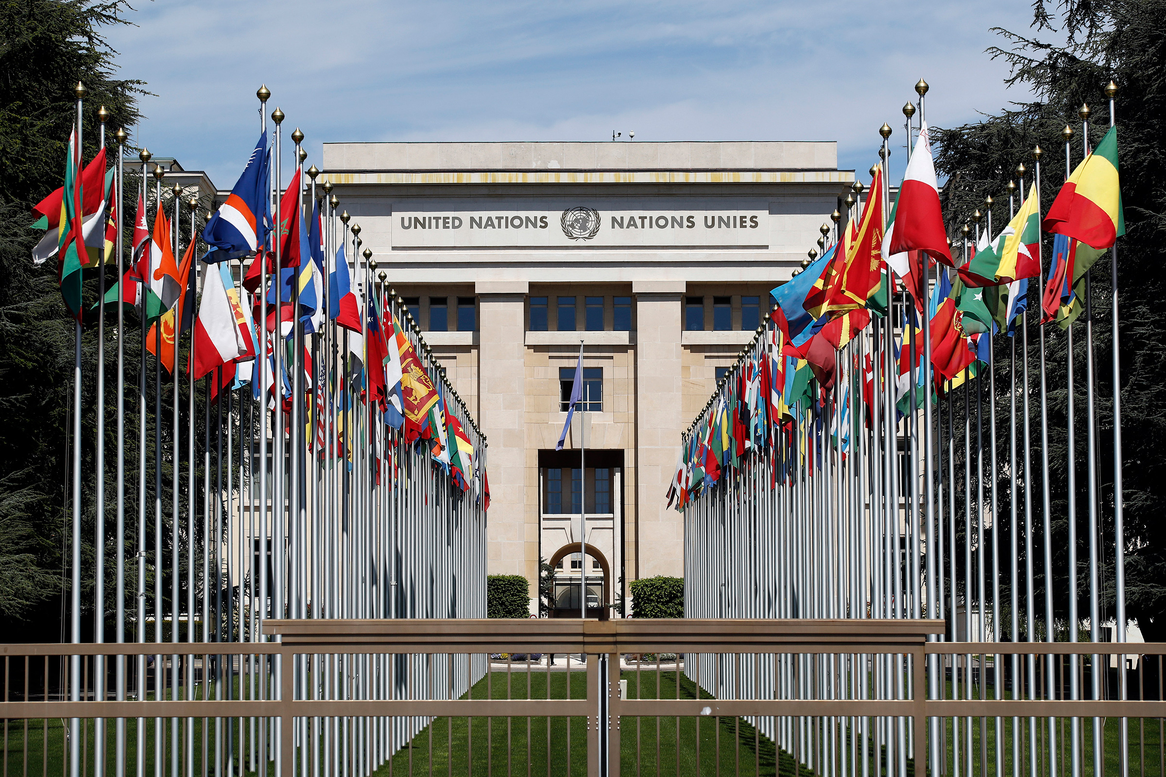 Flags stand outside the United Nations (UN) building in Geneva, Switzerland, on May 14, 2019.