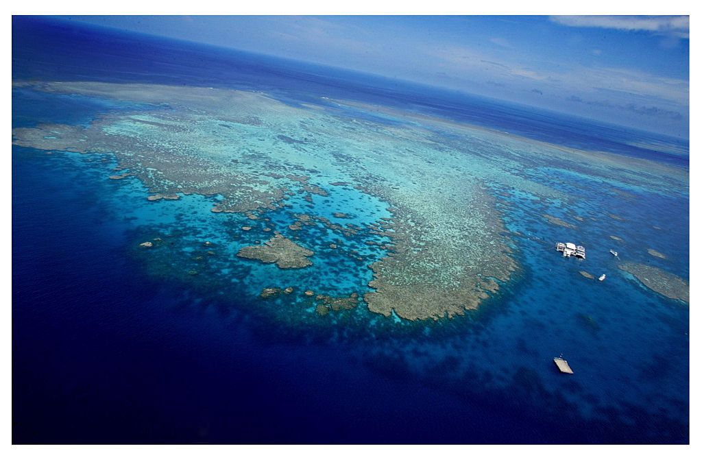 An aerial view shows the Agincourt number three reef on the Great Barrier Reef in Queensland, Australia on Feb. 10, 2005.