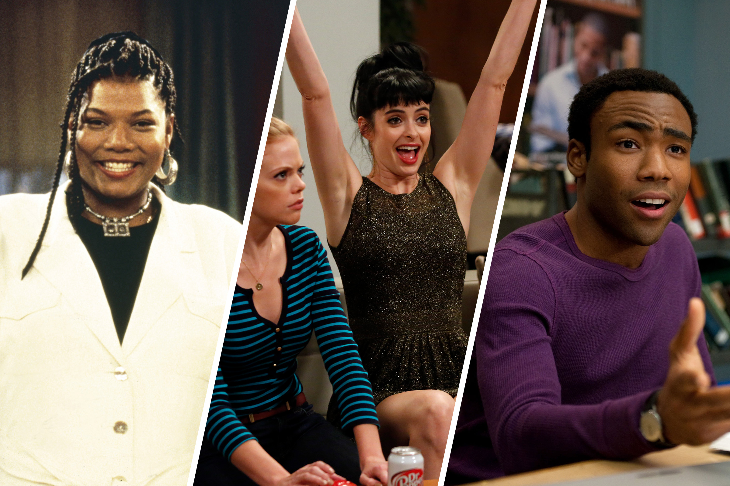 Queen Latifah in 'Living Single'; Krysten Ritter and Dreama Walker in 'Don't Trust the B---- in Apartment 23'; Donald Glover in 'Community'