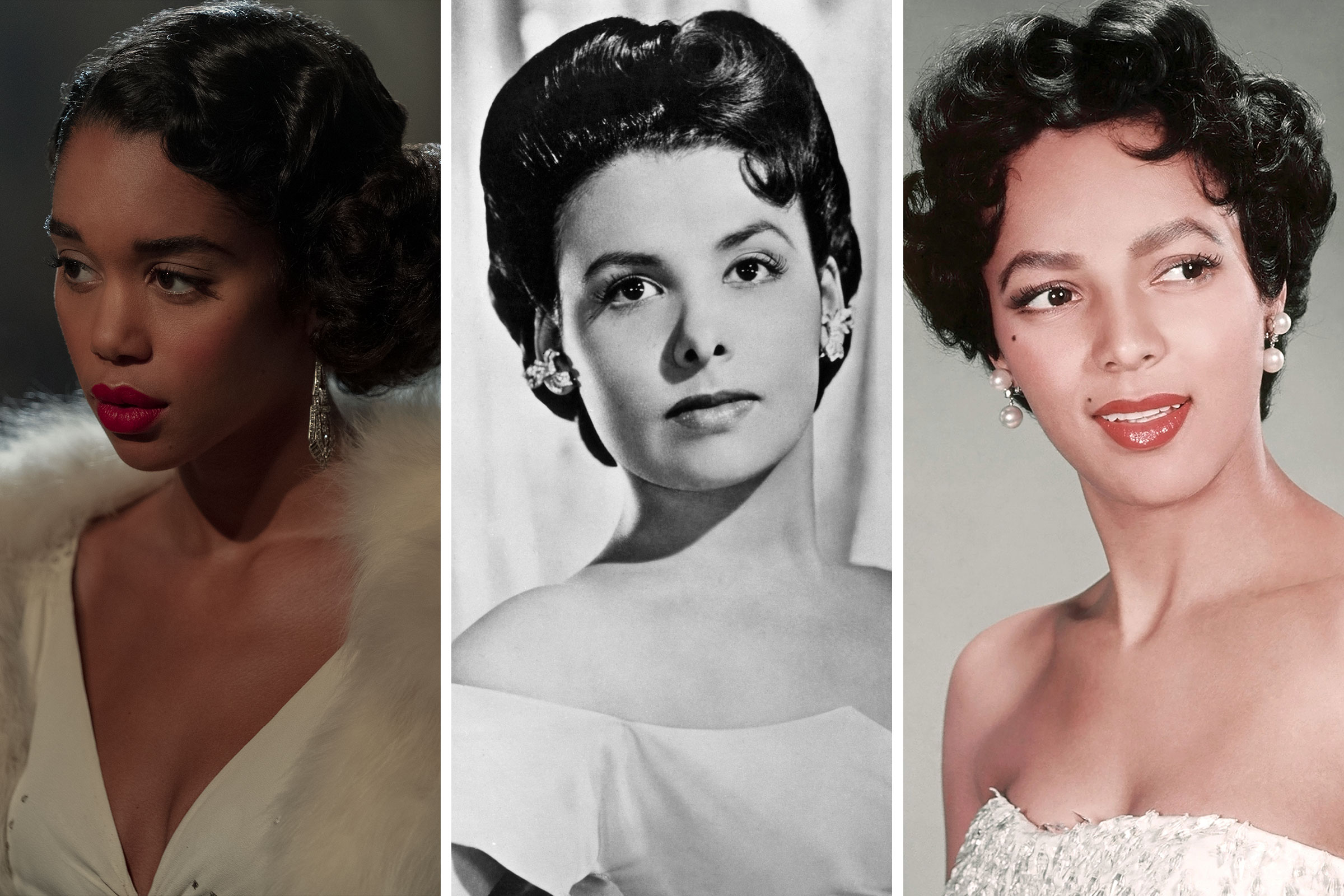 Laura Harrier as the character Camille in 'Hollywood'; Lena Horne circa 1945; Dorothy Dandridge circa 1955