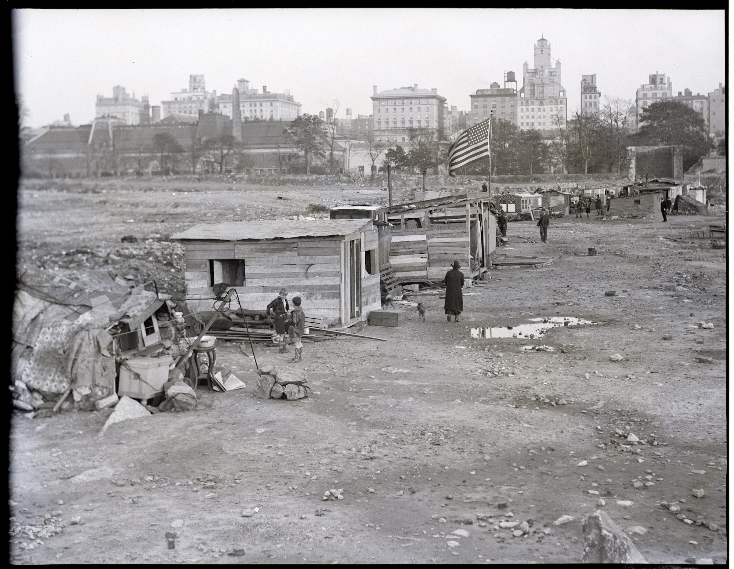 A Depression-era  Hooverville  in the old Central Park reservoir in New York City. Undated photograph.