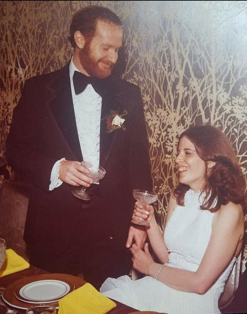 Stephen Solomon and his wife at their wedding in 1977.