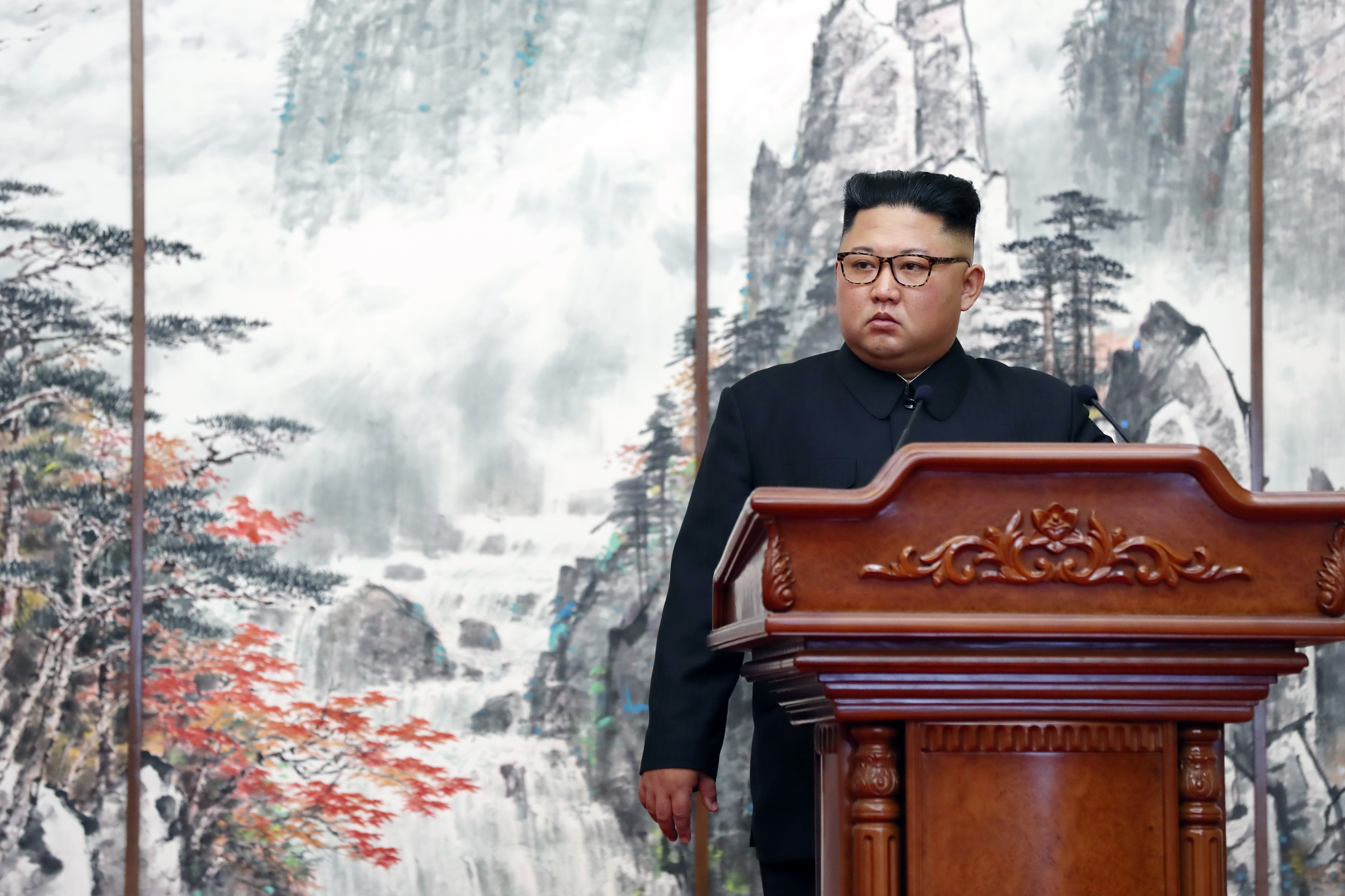North Korean leader Kim Jong Un attends a joint press conference with South Korean President Moon Jae-in at the Paekhwawon State Guesthouse in Pyongyang, North Korea on Sept. 19, 2018.