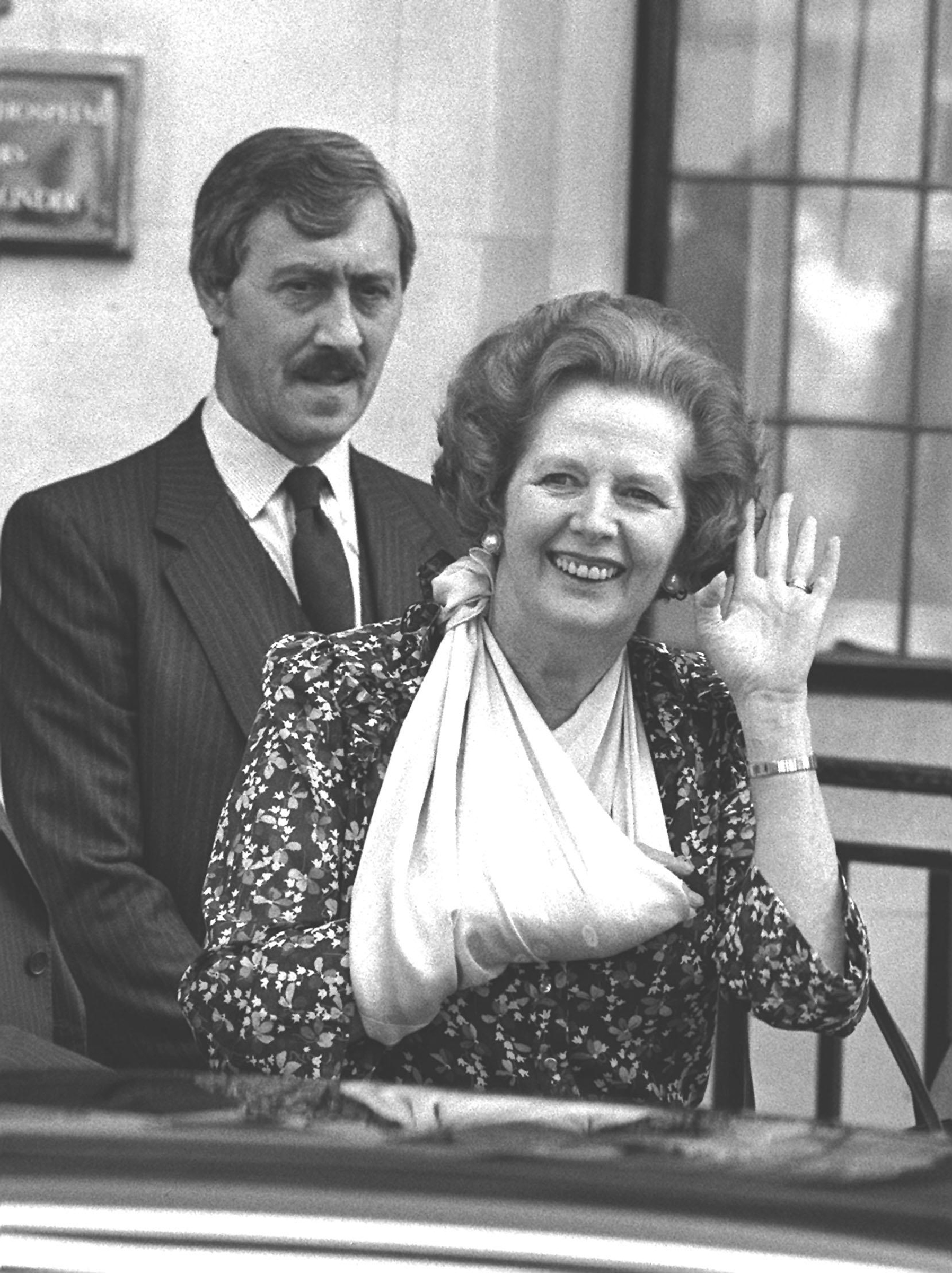 Margaret Thatcher leaving hospital after a successful operation on her right hand in 1986.