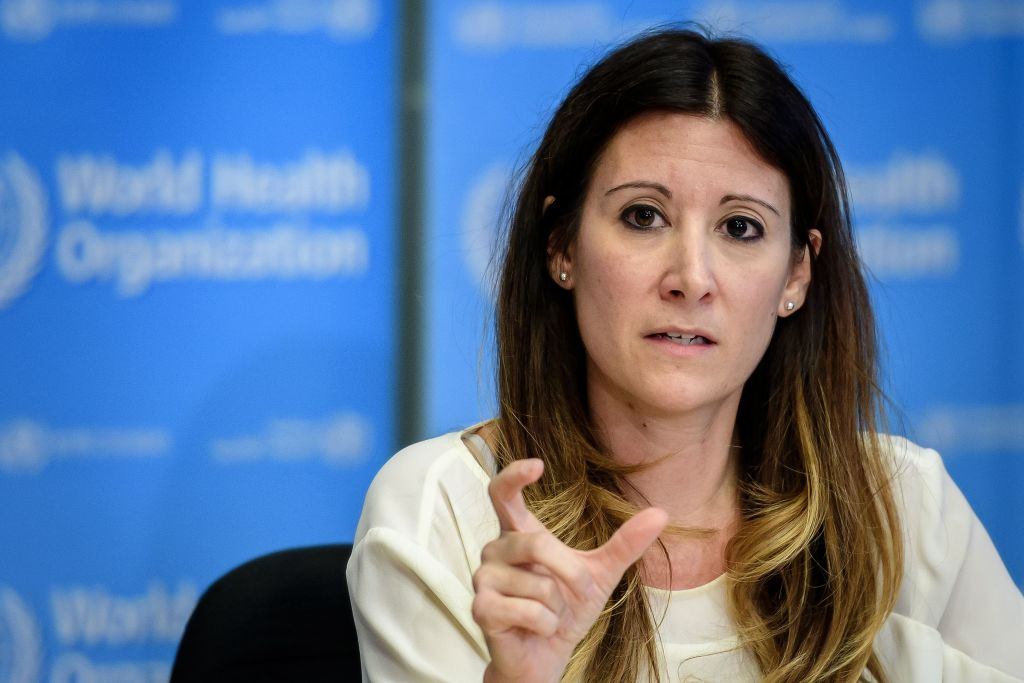 World Health Organization Technical Lead Maria Van Kerkhove during a press briefing in Geneva on March 9, 2020.