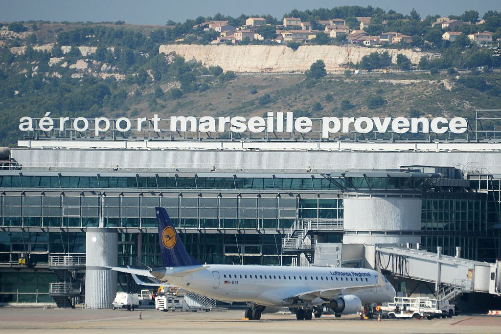 Aerial view of the Marseille-Provence airport in Marignane.