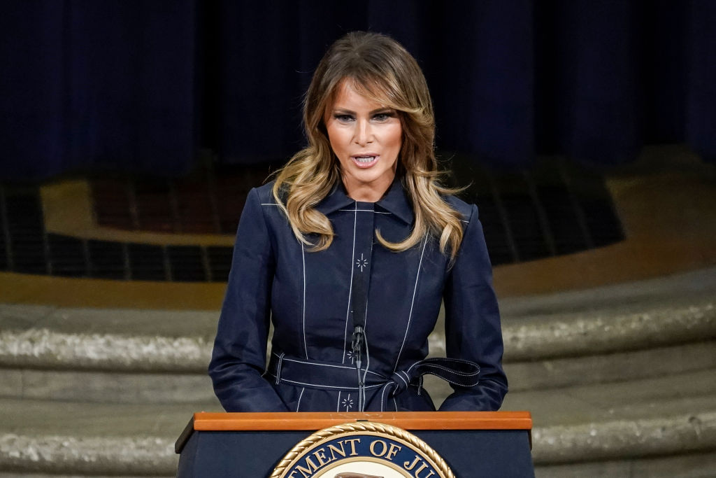 First Lady Melania Trump speaks at the National Opioid Summit at the U.S. Department of Justice on March 6, 2020 in Washington, DC.