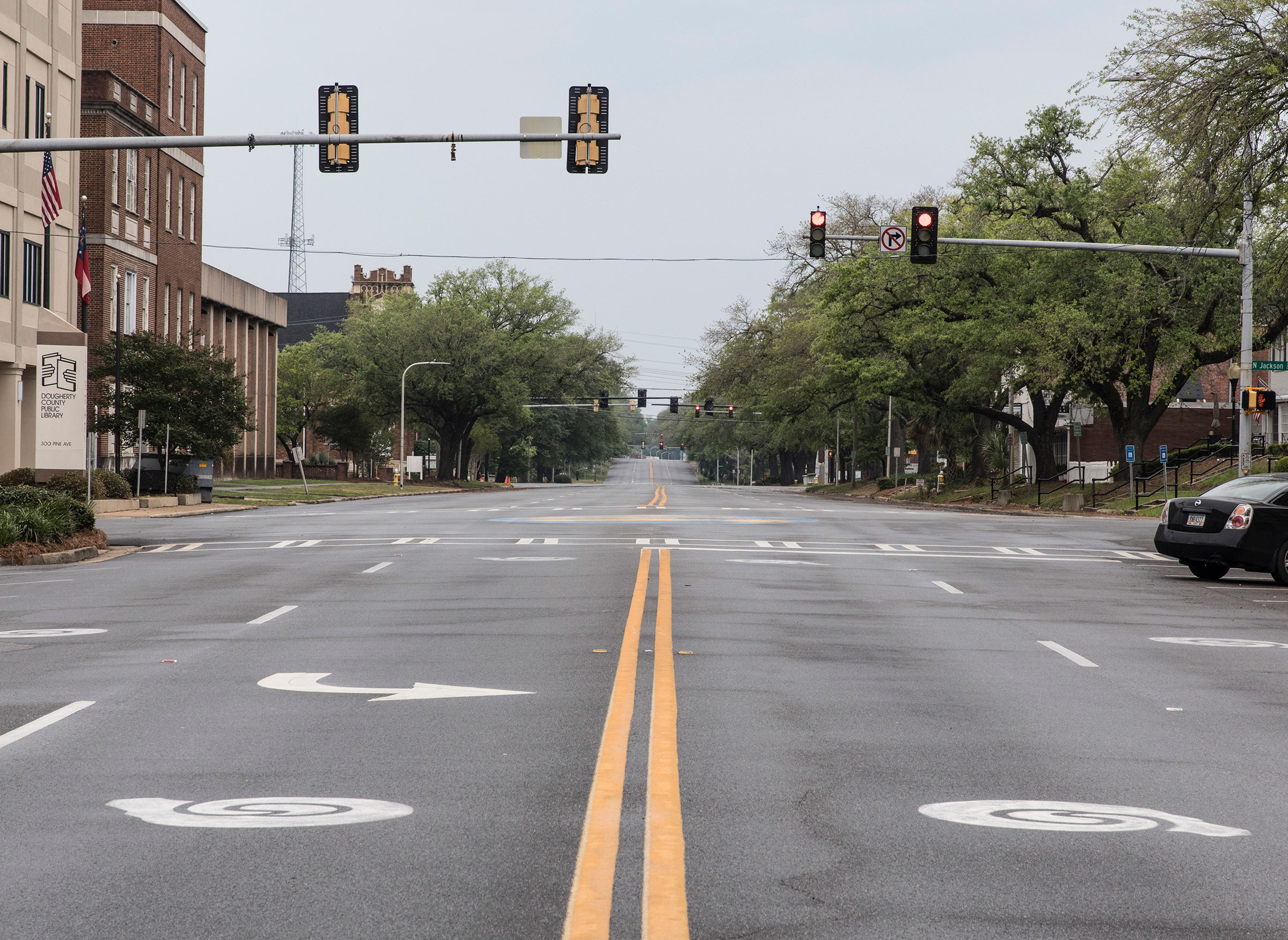 An empty street in Albany, Ga.