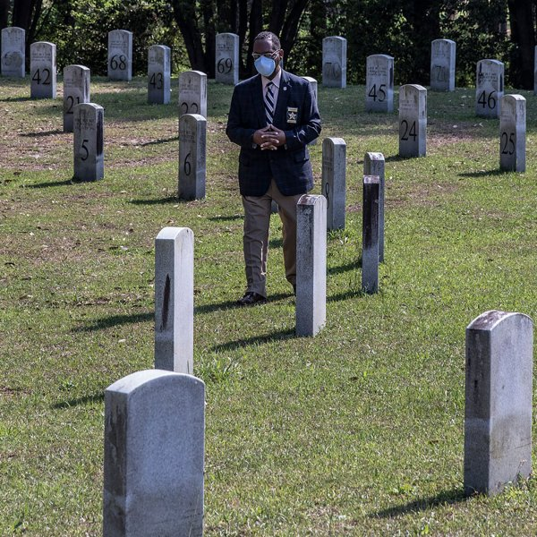 Fowler at Riverside Cemetery in Albany, Ga., on April 5. Dougherty County had the most coronavirus-related deaths in the state as of April 8, 2020.