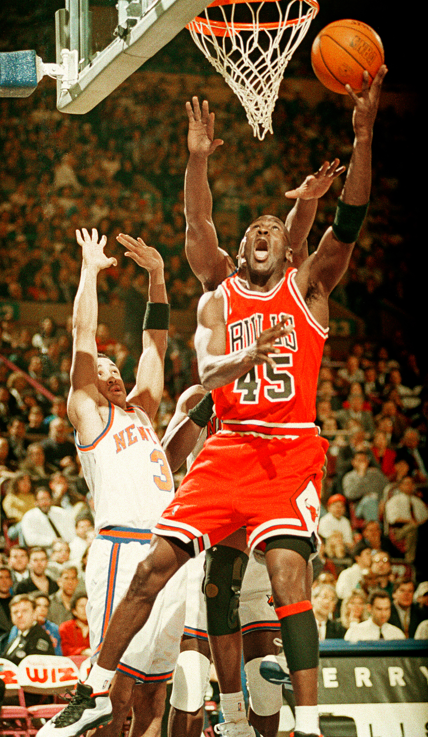 Michael Jordan scores 55 points vs. New York, while wearing No. 45, upon returning to the NBA in 1995.