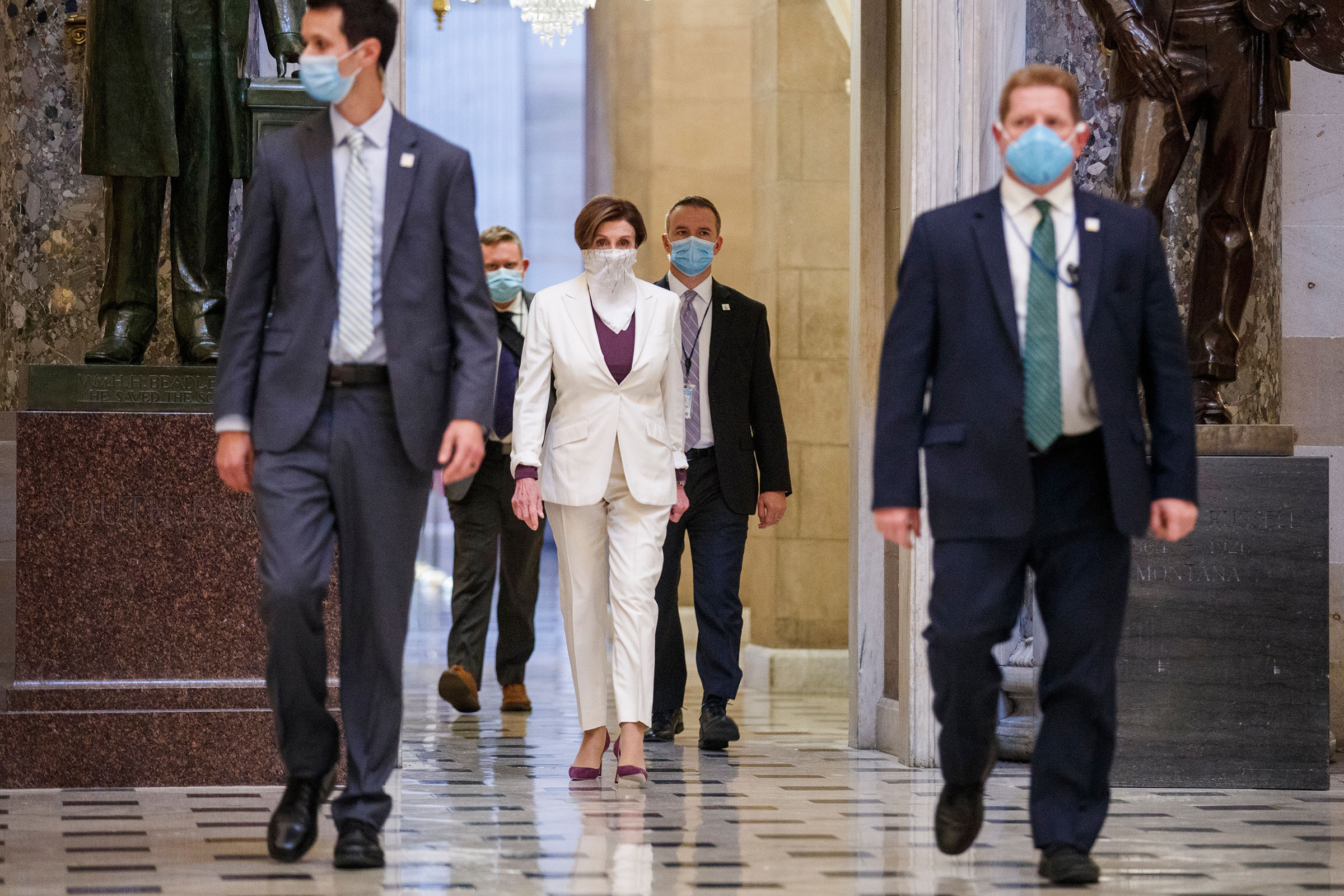 Pelosi in the U.S. Capitol on April 23, the day the House passed a $484 billion coronavirus relief package
